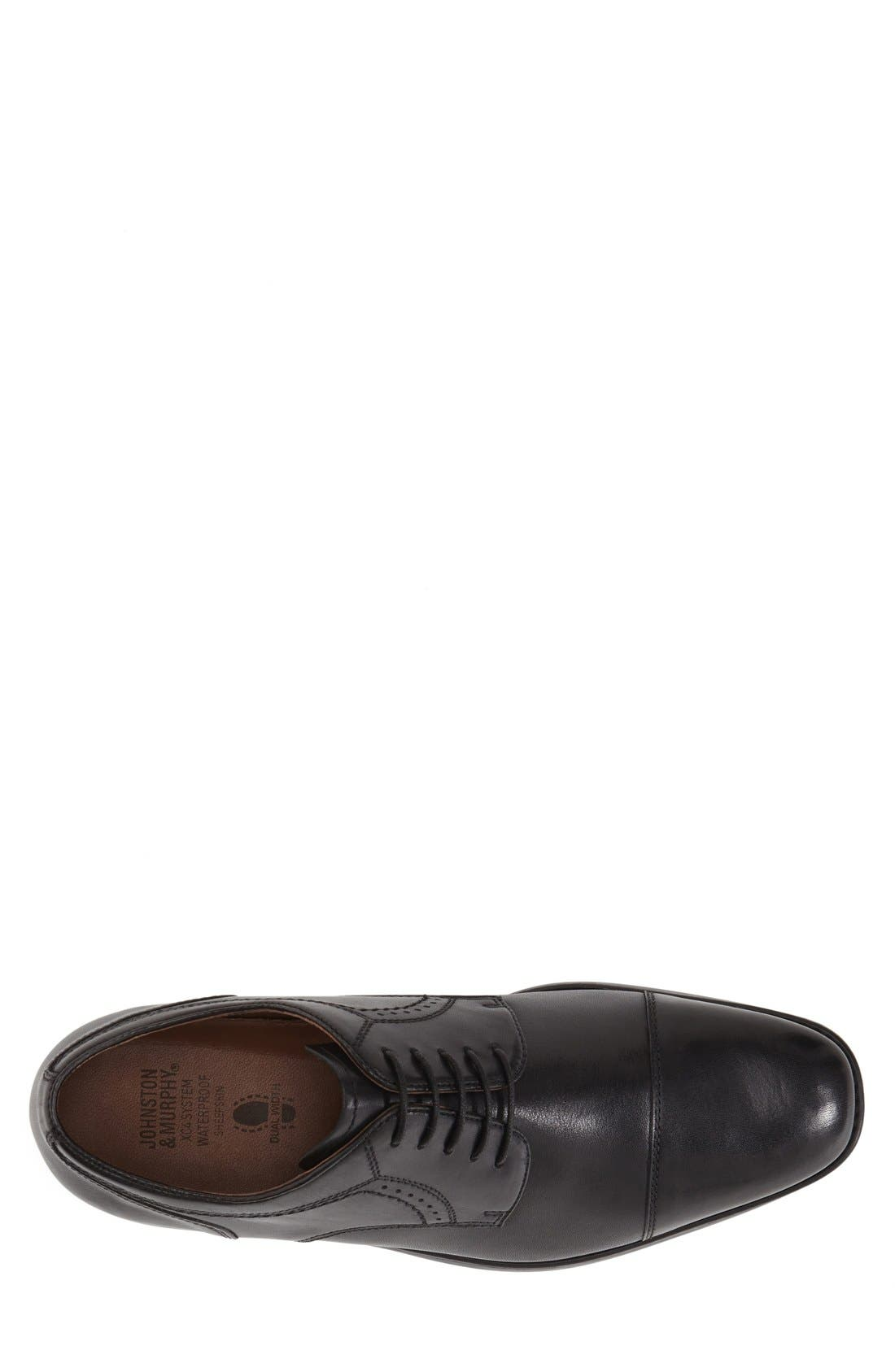 JOHNSTON & MURPHY, 'Branning' Waterproof Cap Toe Derby, Alternate thumbnail 3, color, BLACK