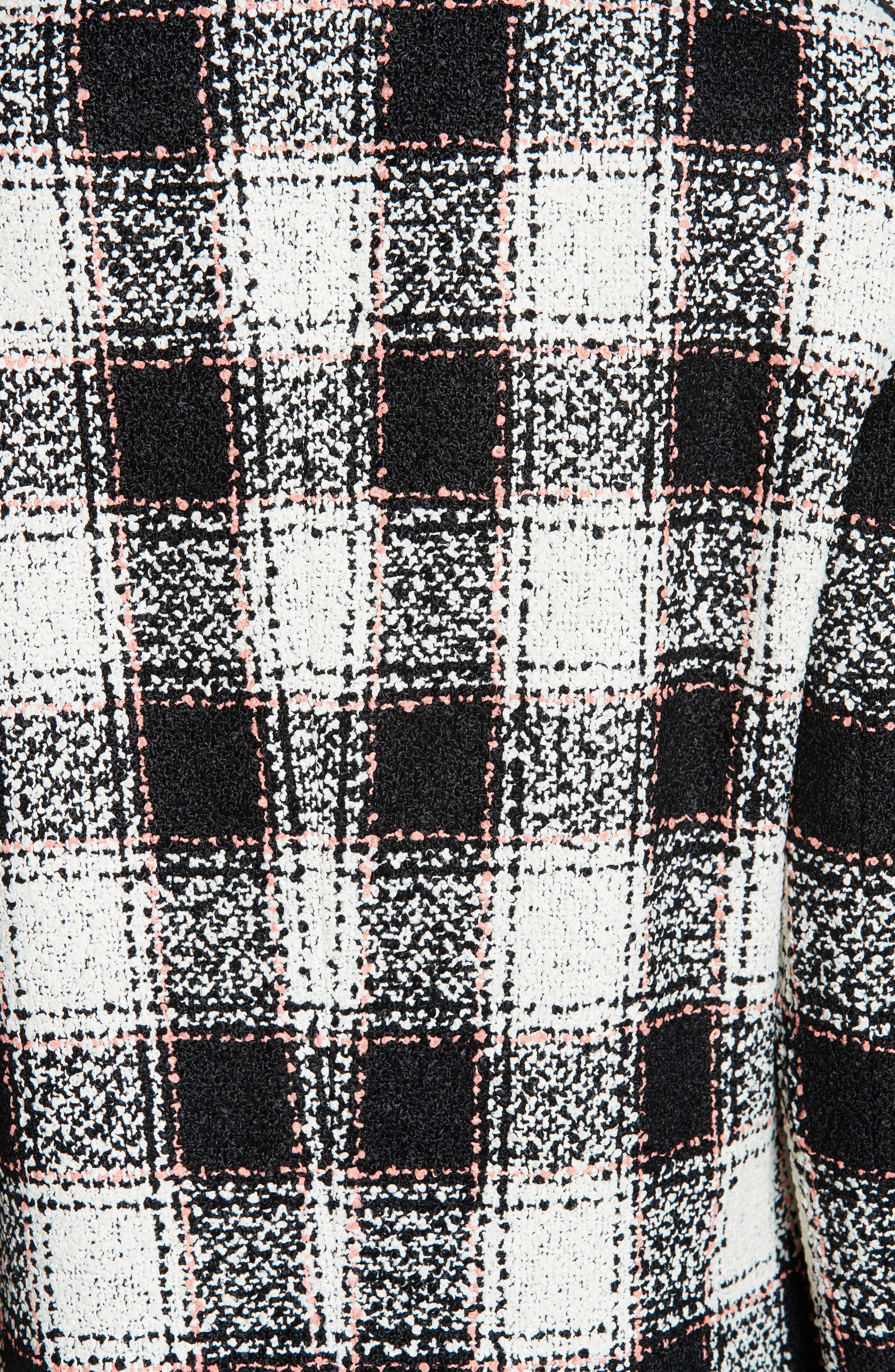 ETRO, Double Breasted Checked Tweed Jacket, Alternate thumbnail 6, color, WHITE