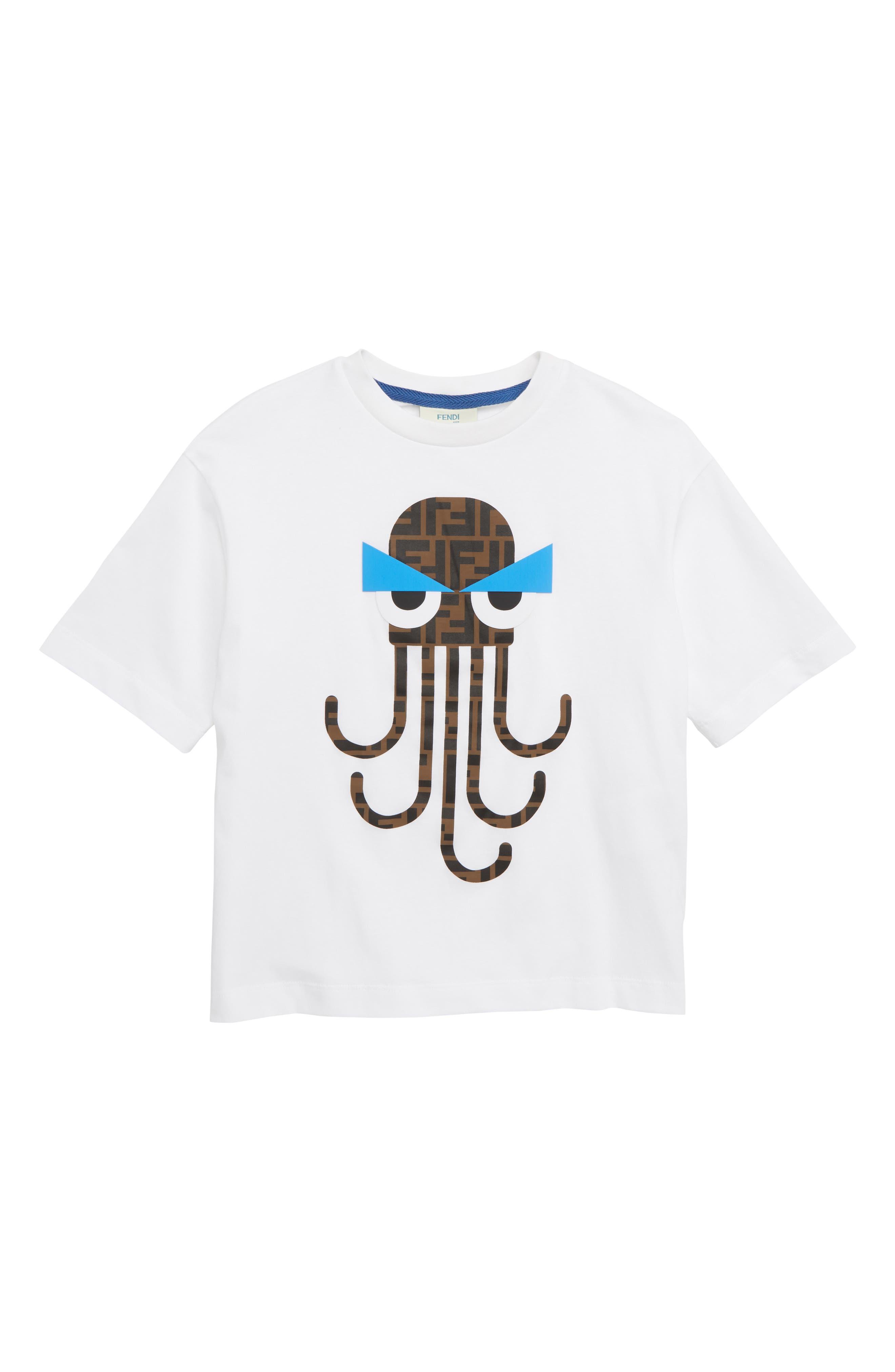 FENDI, Octopus Logo T-Shirt, Main thumbnail 1, color, F0QA0 WHITE