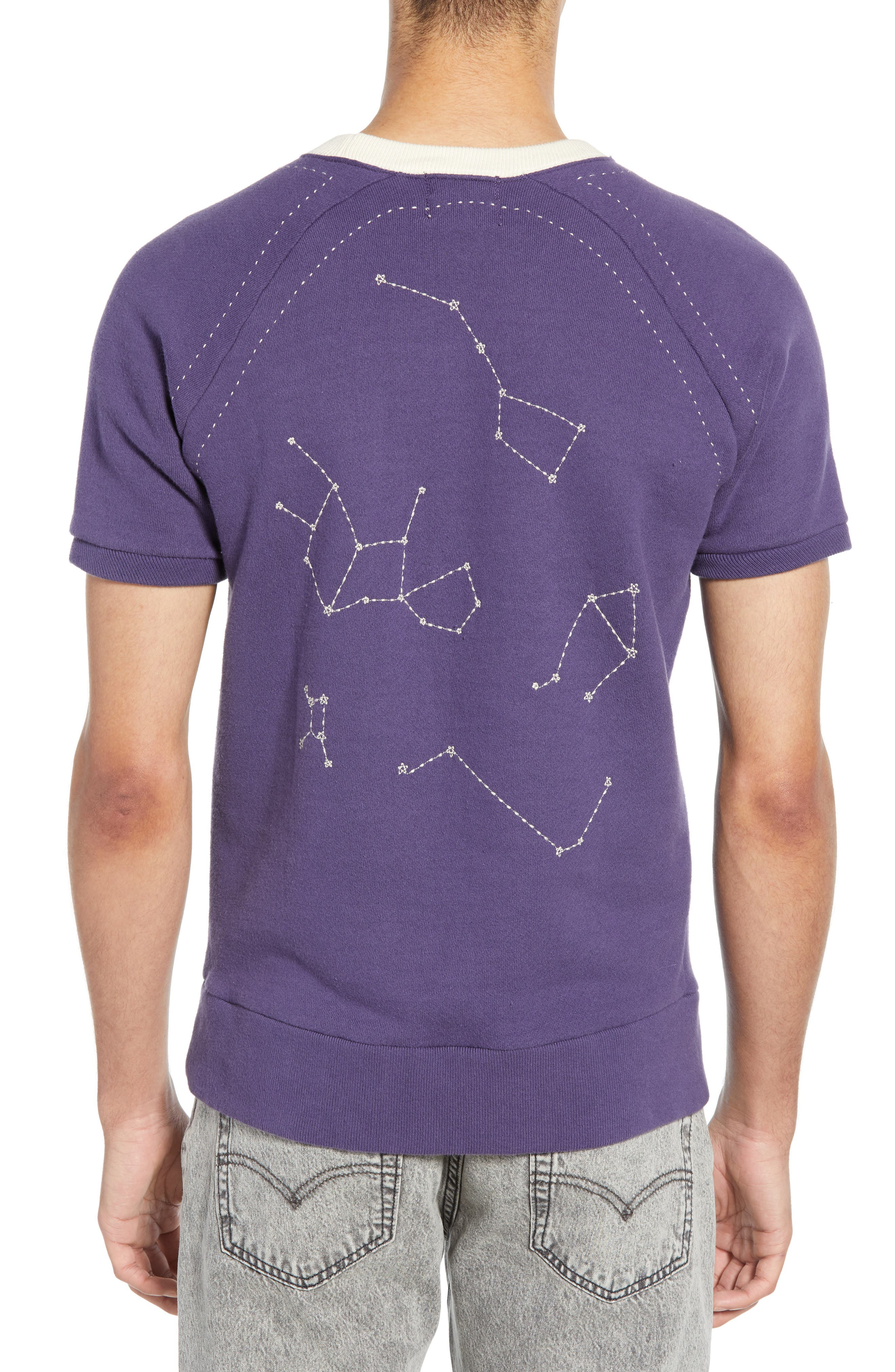 LEVI'S<SUP>®</SUP> VINTAGE CLOTHING, 1950s Slim Fit Short Sleeve Sweatshirt, Alternate thumbnail 2, color, STAR CHART EMBROIDERED