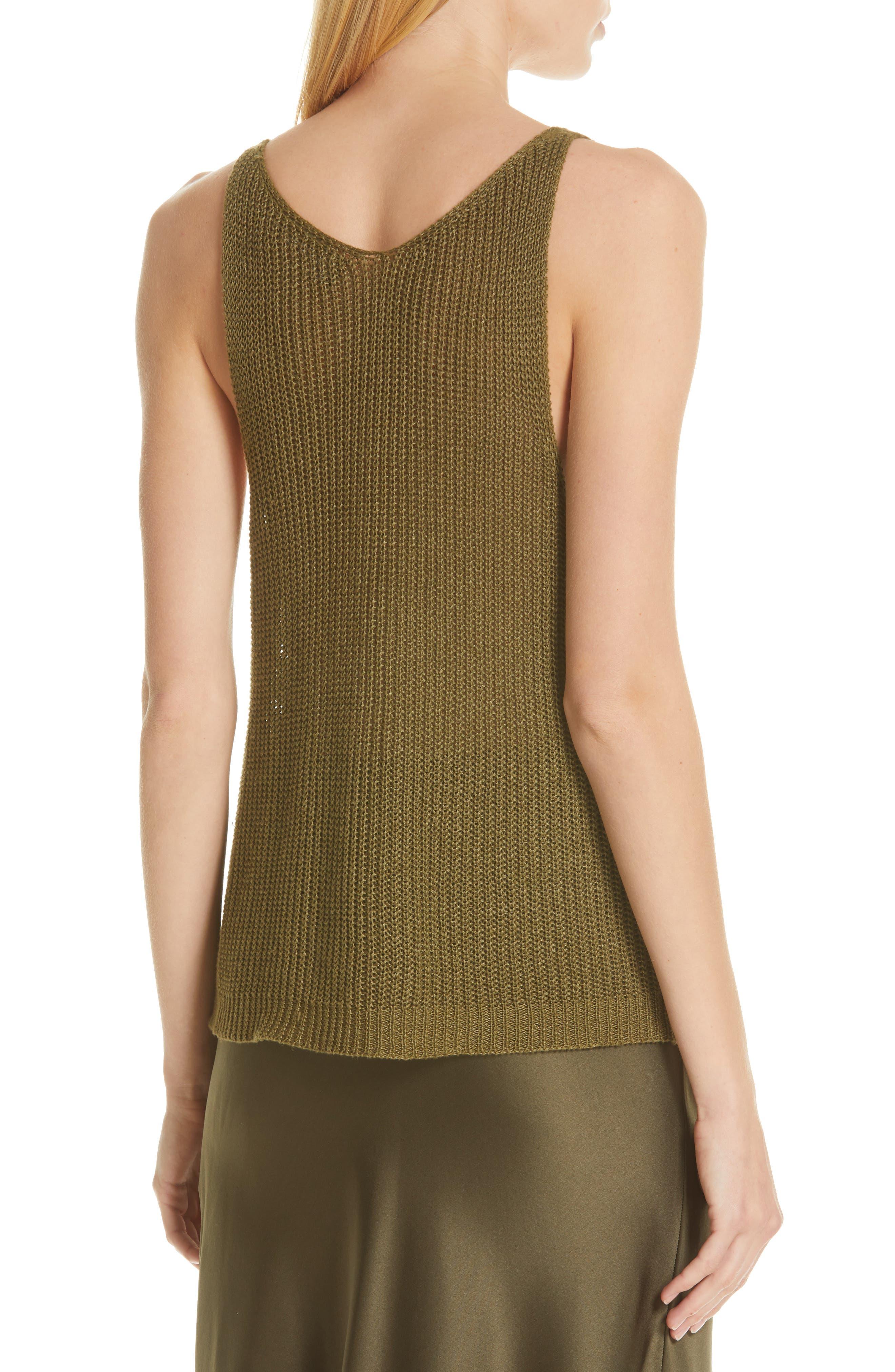 NILI LOTAN, Nala Linen Sweater Tank, Alternate thumbnail 2, color, OLIVE