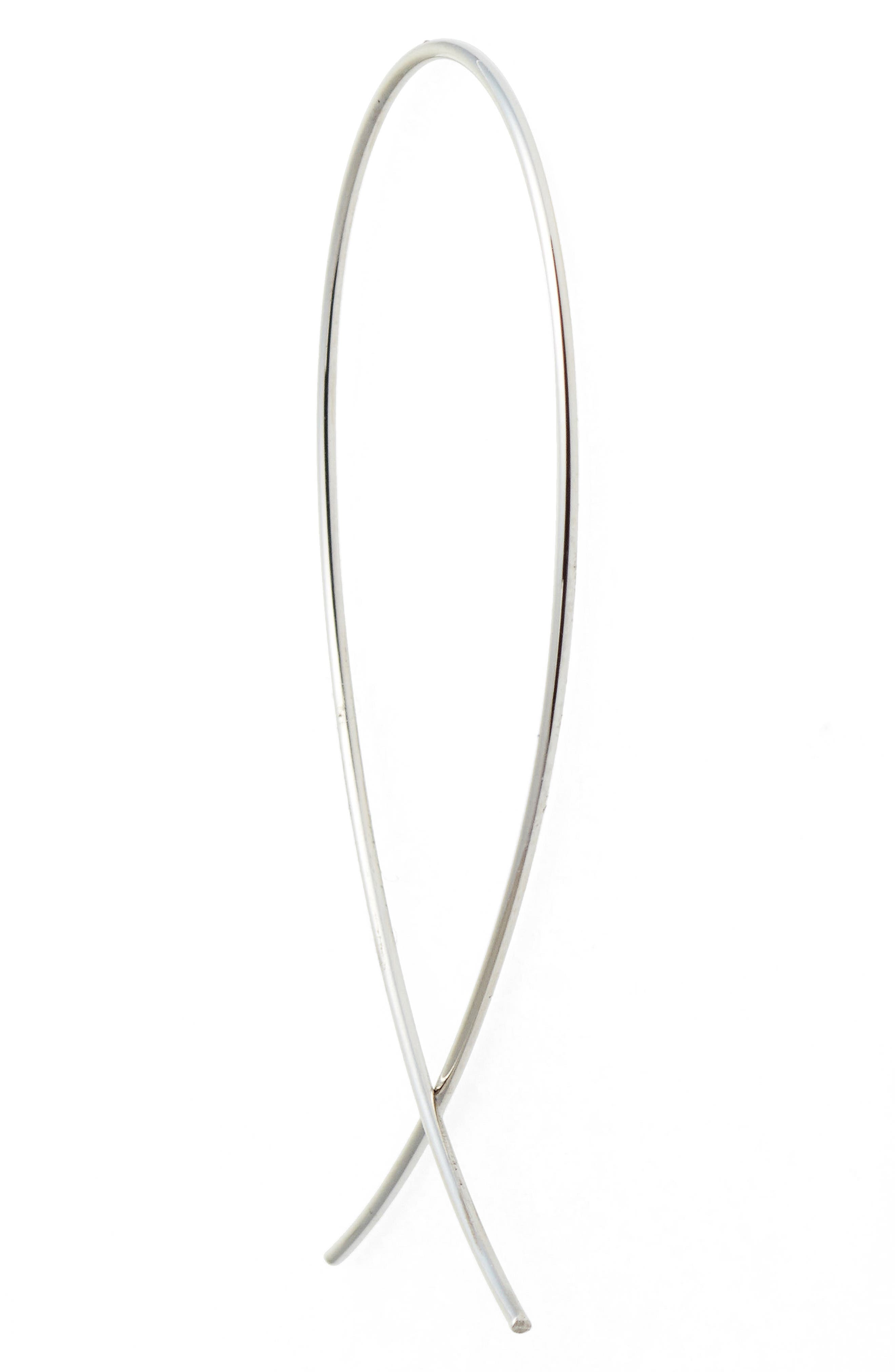 LANA JEWELRY, 'Upside Down' Small Hoop Earrings, Alternate thumbnail 3, color, WHITE GOLD