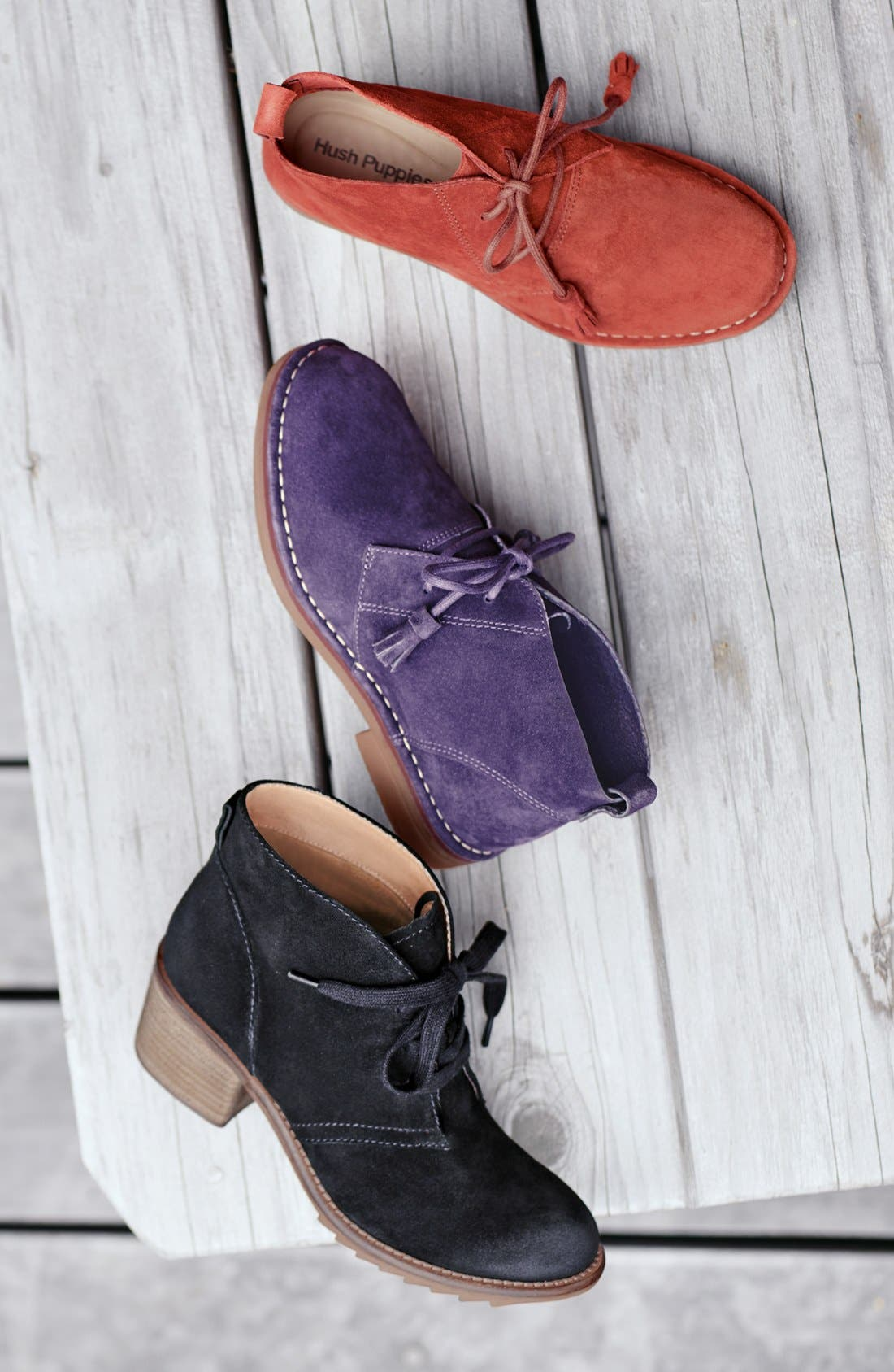 HUSH PUPPIES<SUP>®</SUP>, Cyra Catelyn Chukka Boot, Alternate thumbnail 5, color, BLACK SUEDE