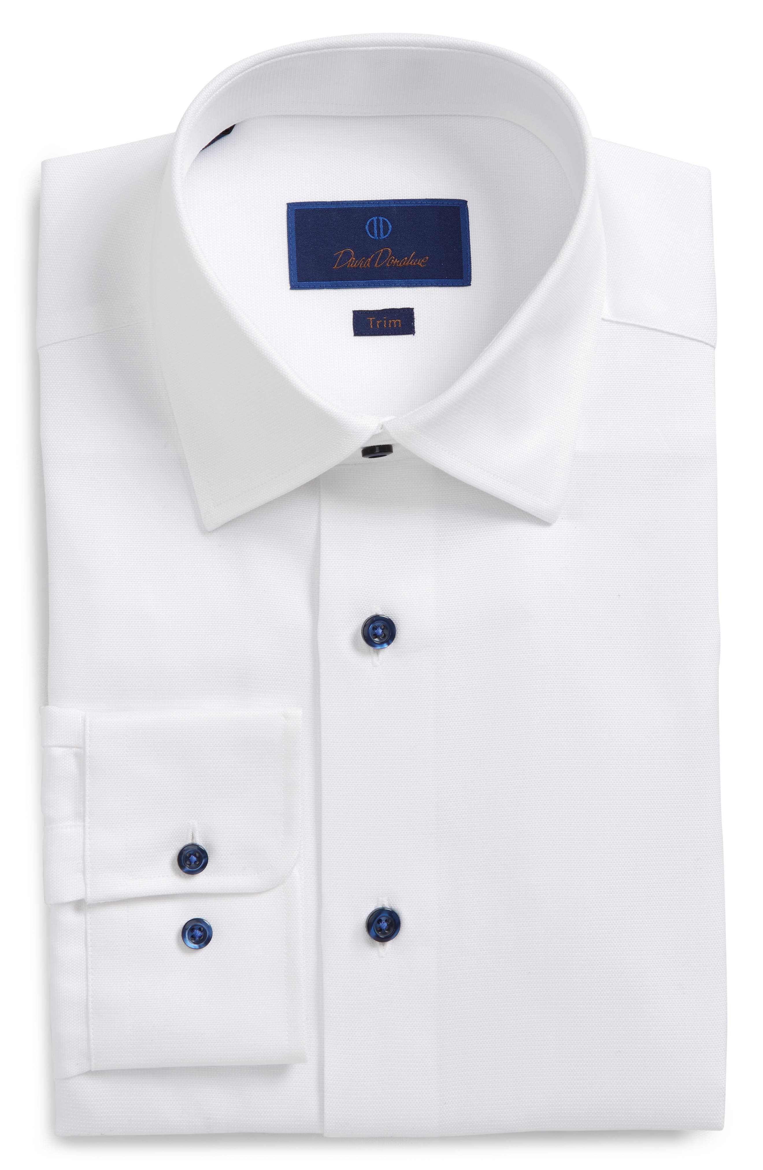 DAVID DONAHUE, Trim Fit Solid Dress Shirt, Main thumbnail 1, color, WHITE