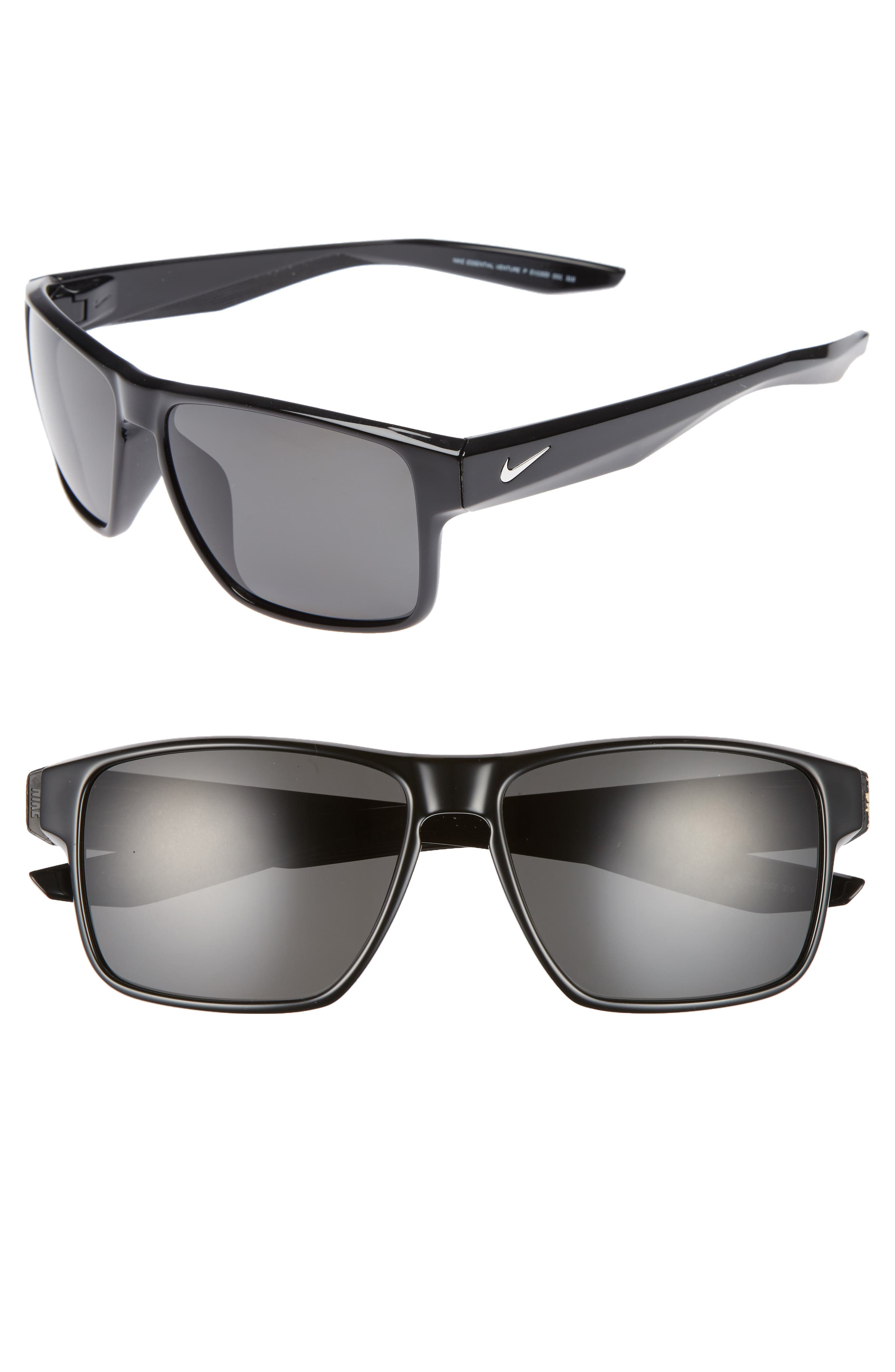 NIKE, Essential Venture 59mm Polarized Sport Sunglasses, Main thumbnail 1, color, MATTE BLACK