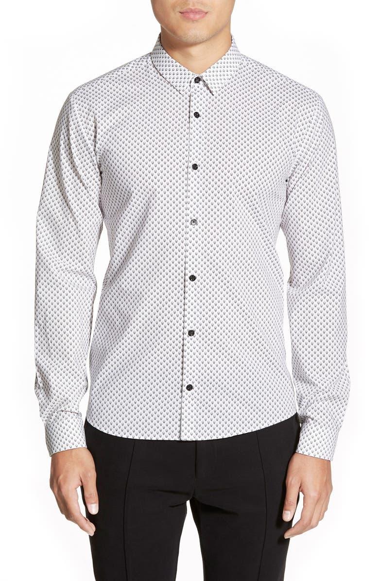 7e9567263 ZZDNUHUGO BOSS HUGO 'Ero3 Skull Print' Slim Fit Long Sleeve Sport Shirt,  Main
