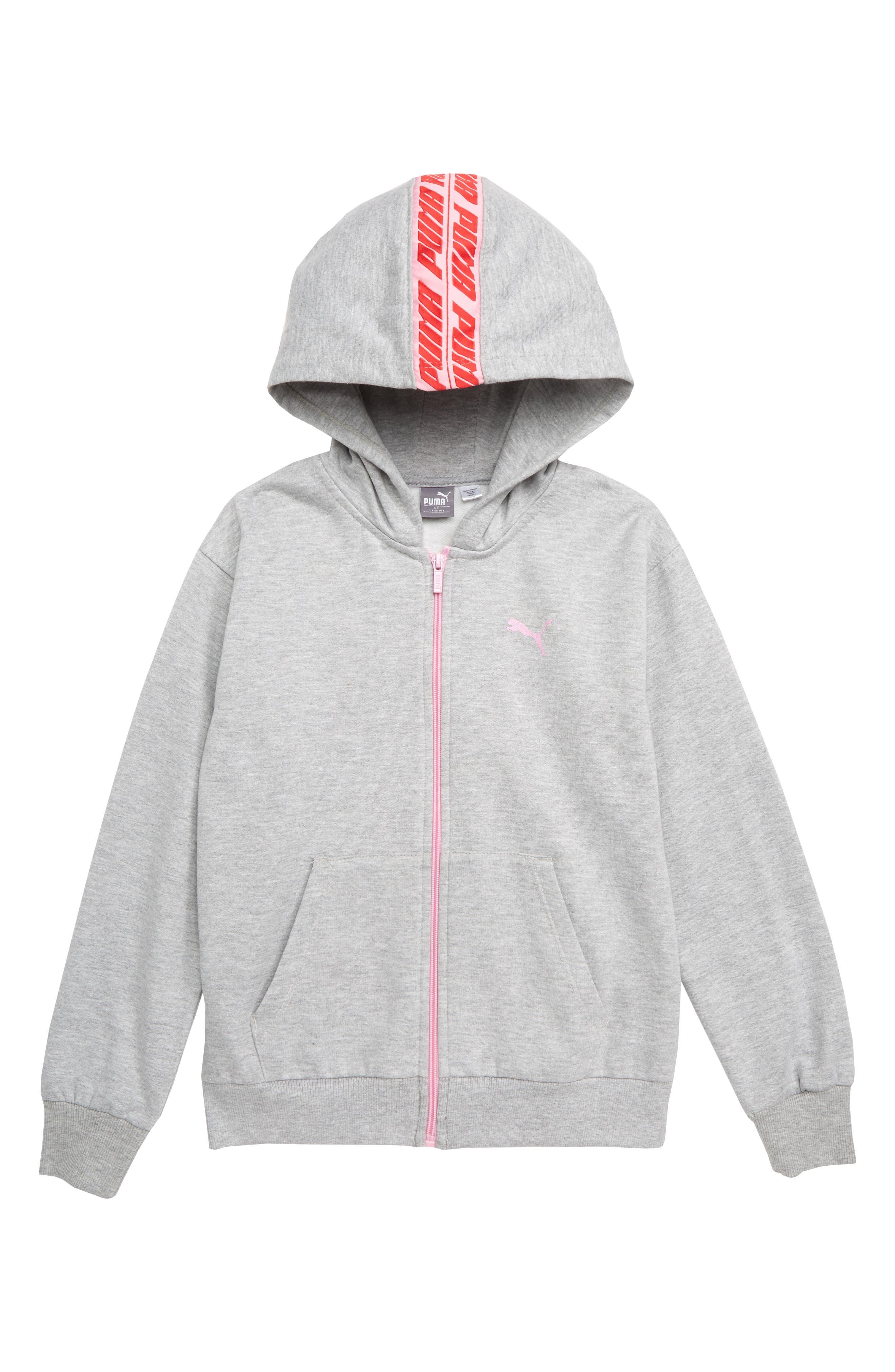 PUMA Fleece Zip Hoodie, Main, color, LIGHT HEATHER GREY