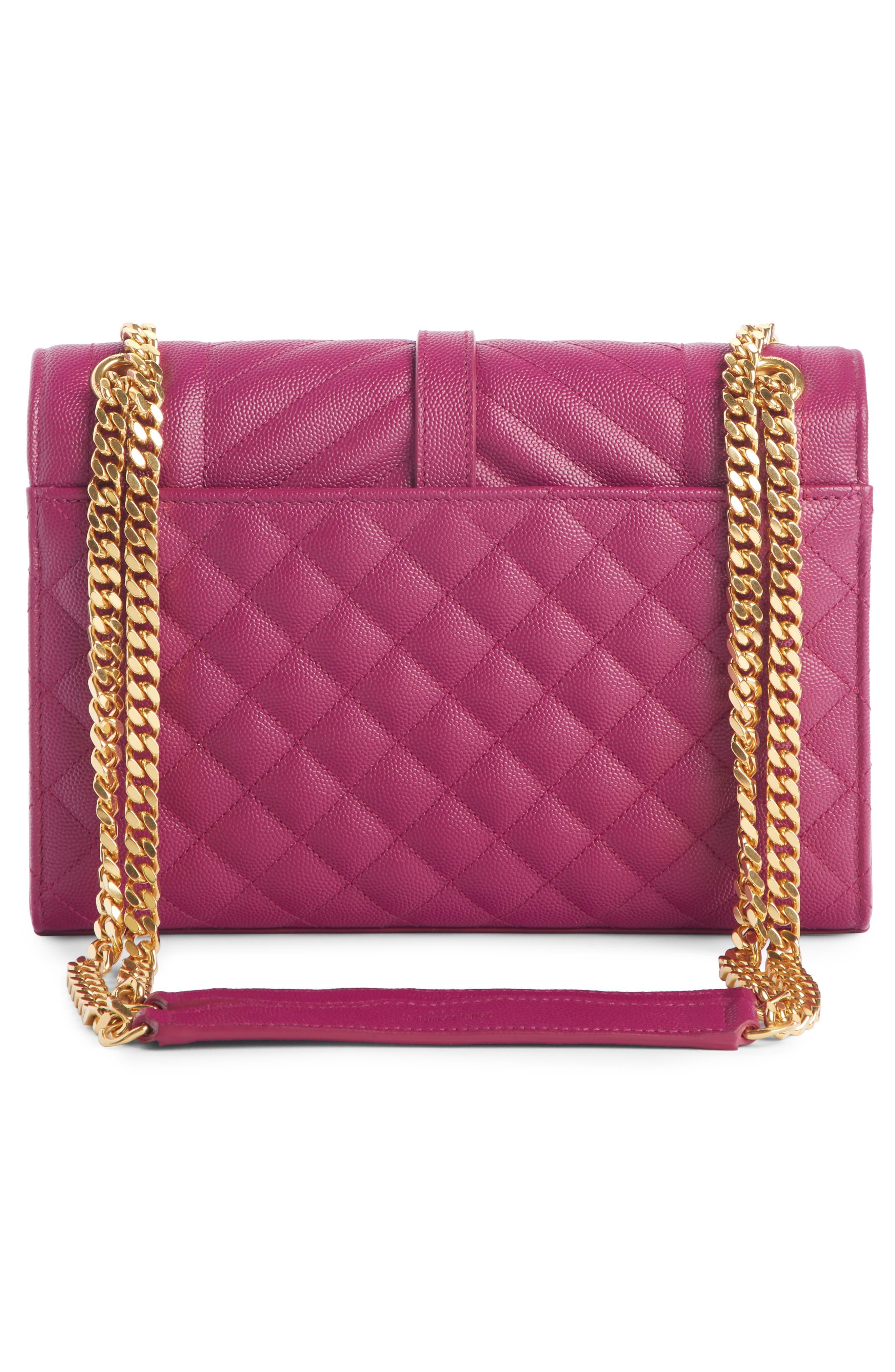 SAINT LAURENT, Medium Cassandre Calfskin Shoulder Bag, Alternate thumbnail 3, color, DARK GRAPE
