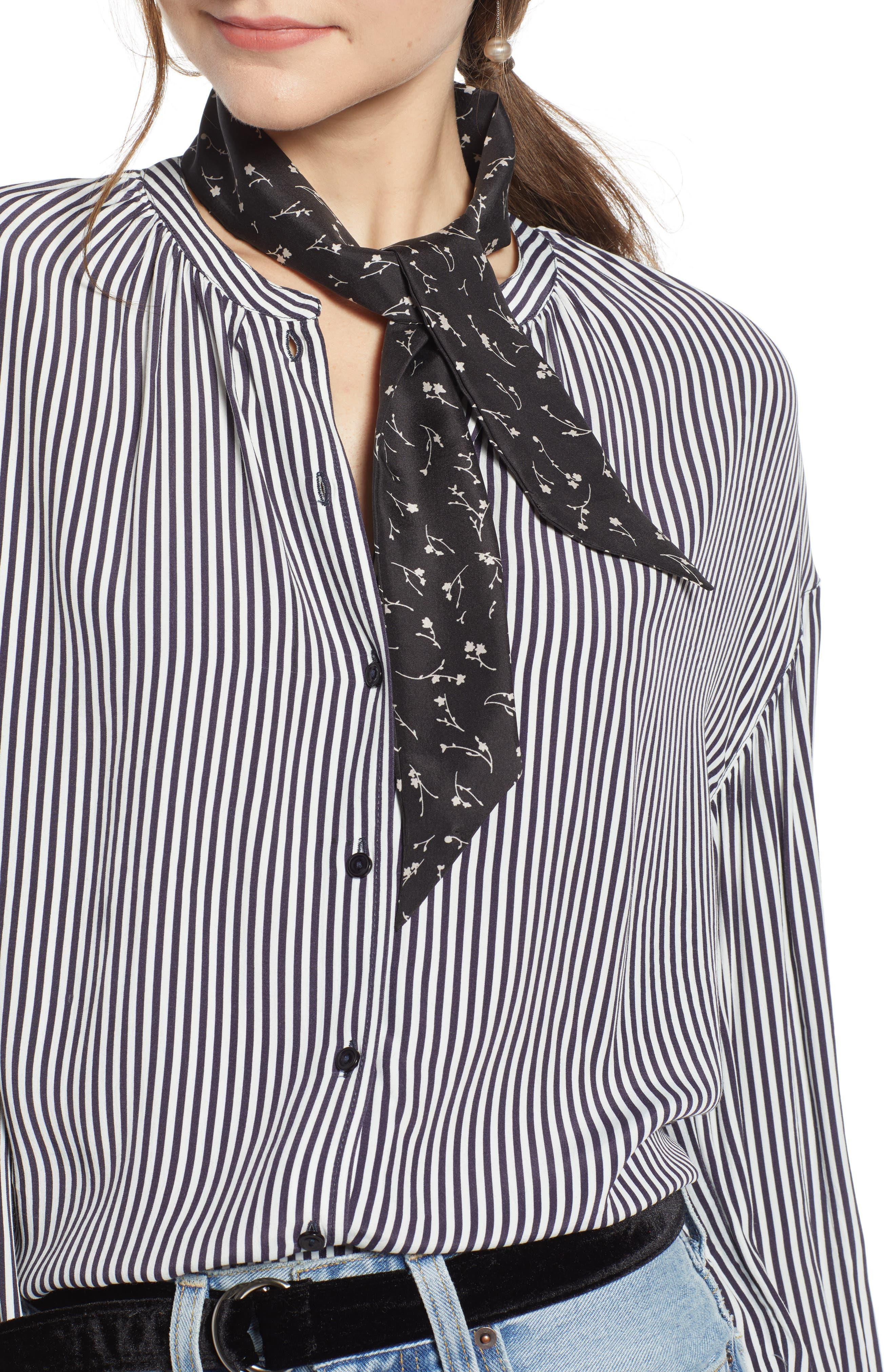SOMETHING NAVY Silk Skinny Scarf, Main, color, BLACK ROSE GARLAND