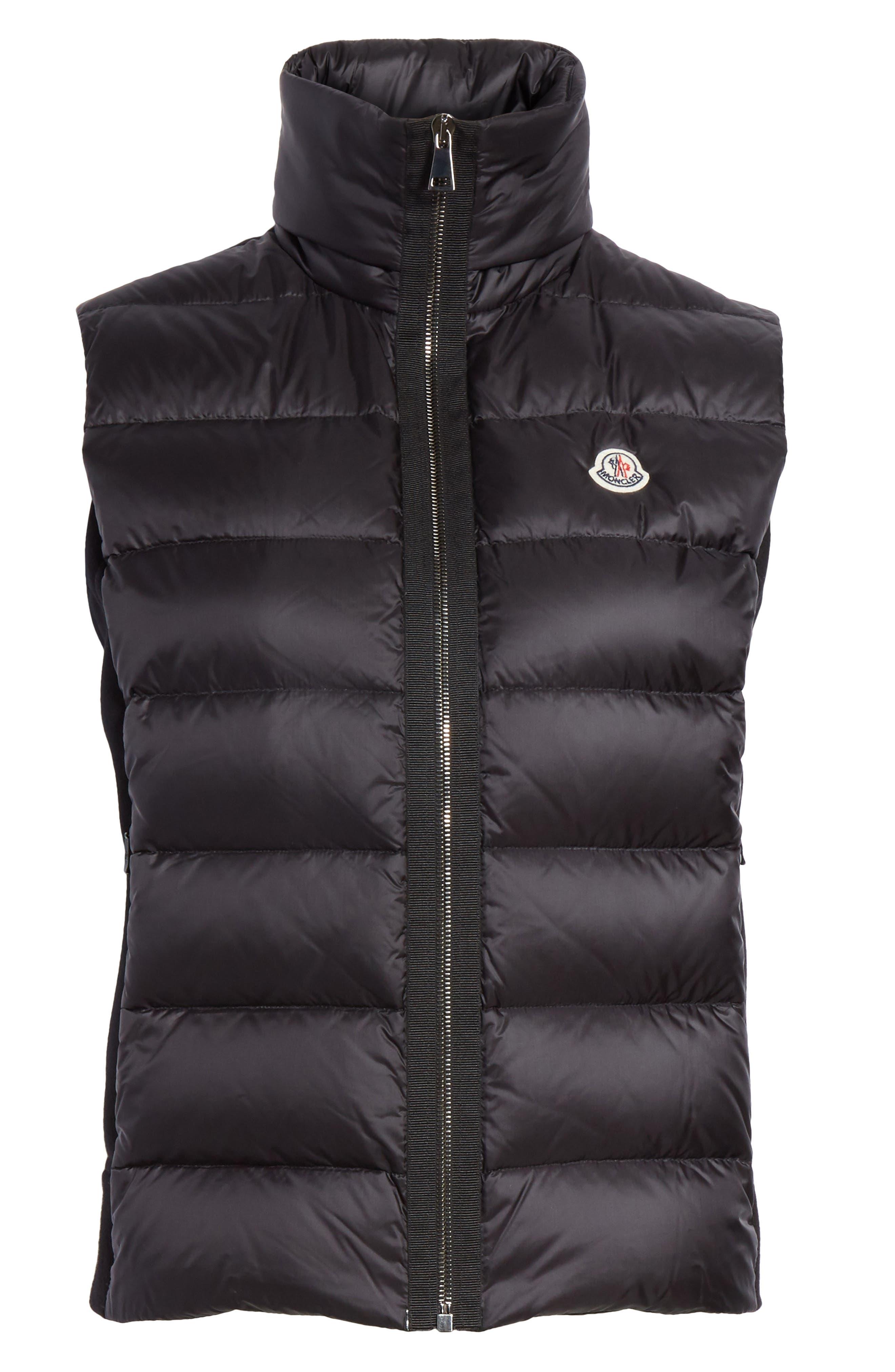 MONCLER, Down Quilted Fleece Vest, Alternate thumbnail 5, color, 001