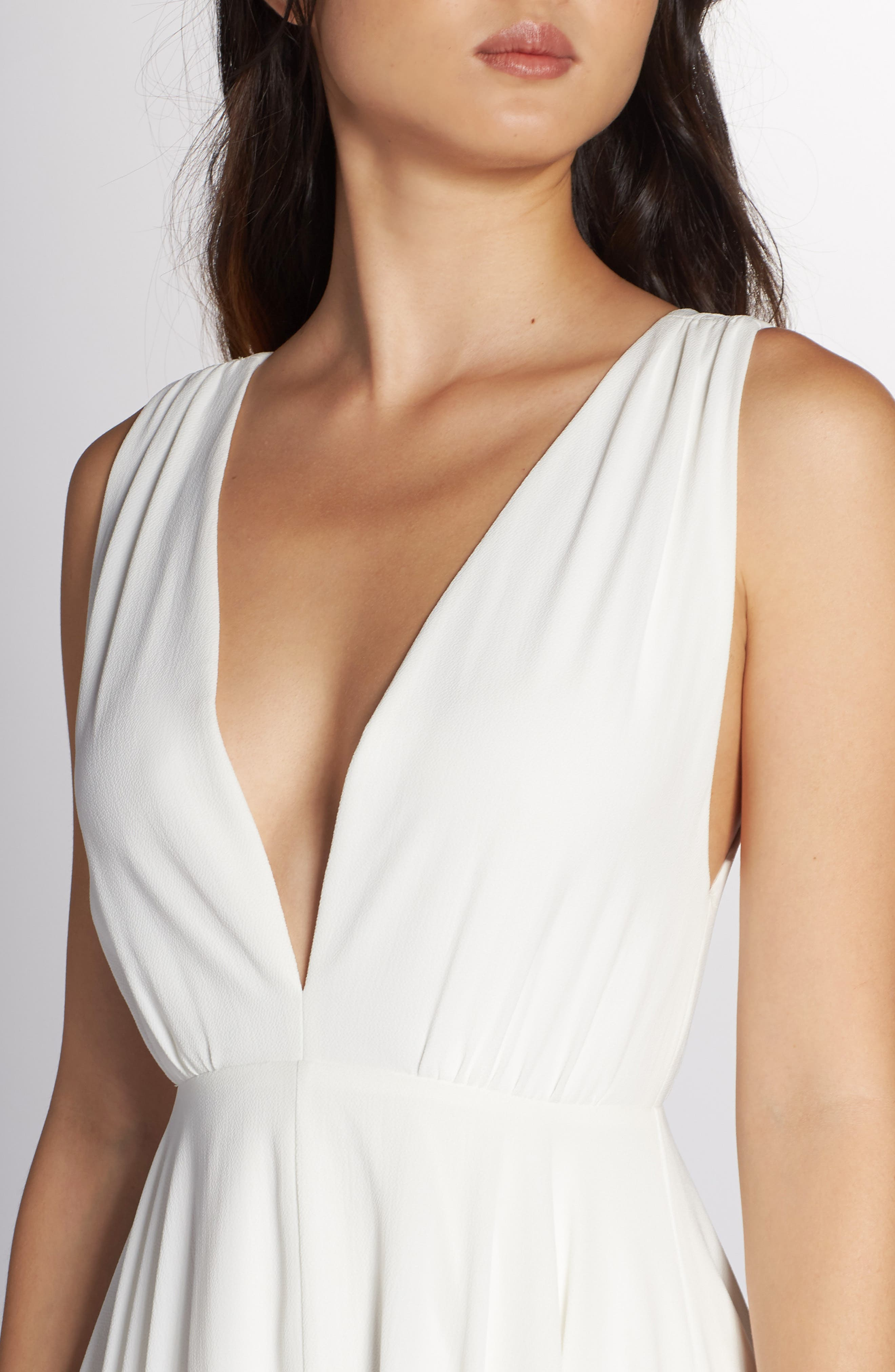 JOANNA AUGUST, Nico Plunging A-Line Gown, Alternate thumbnail 4, color, WHITE