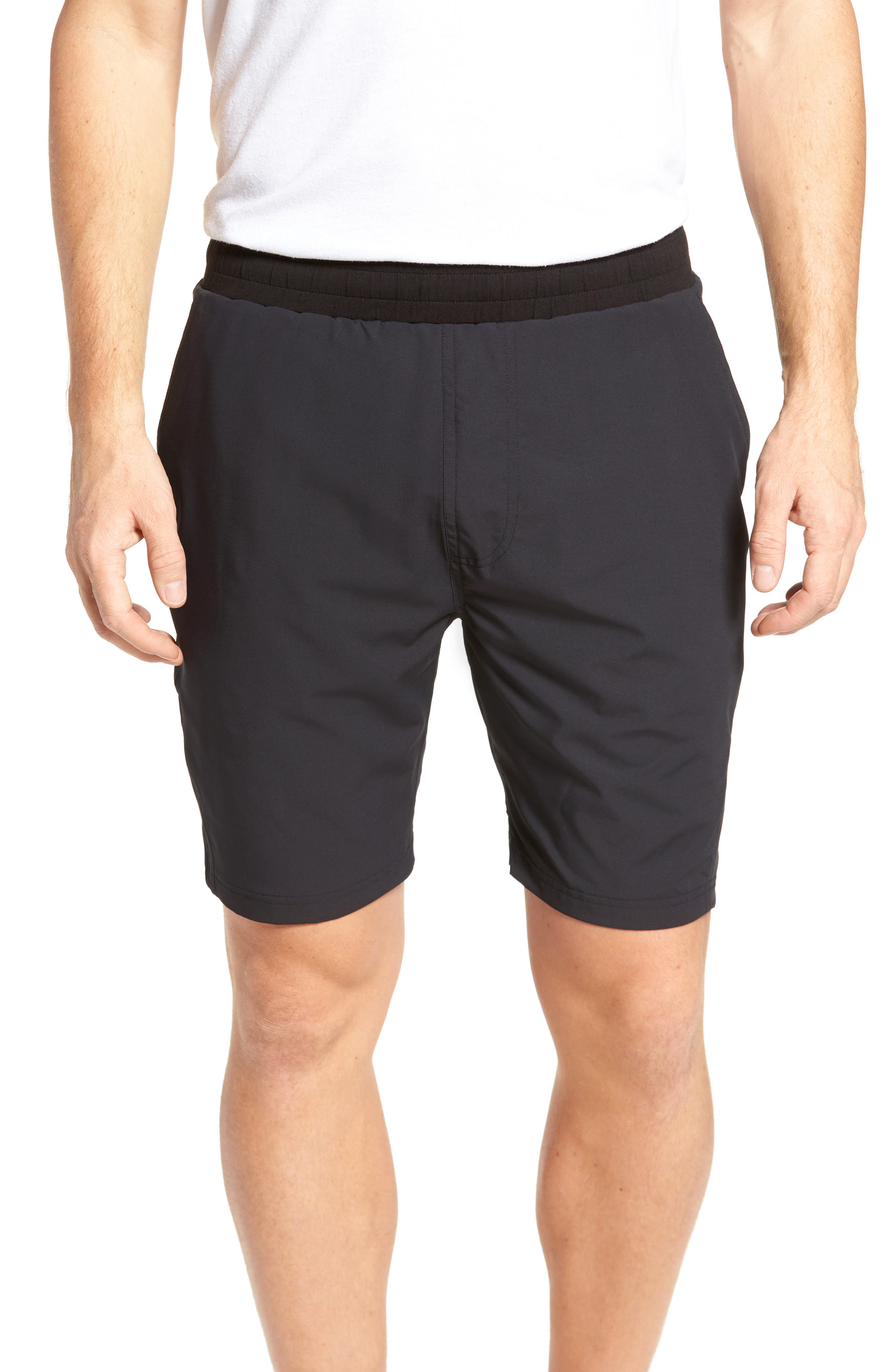 TASC PERFORMANCE, Charge Water Resistant Athletic Shorts, Main thumbnail 1, color, BLACK