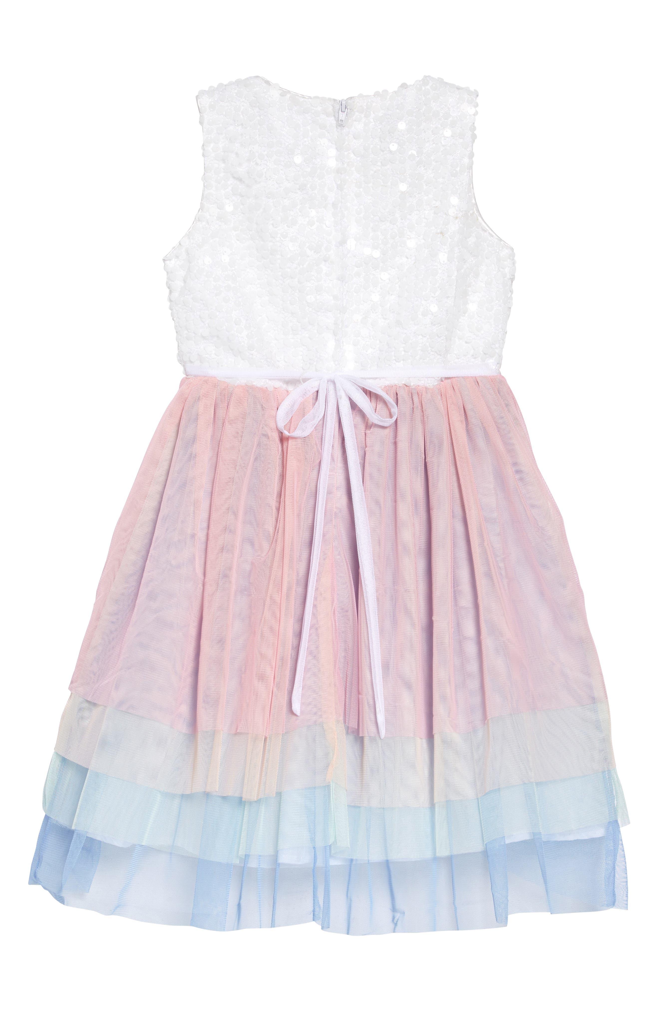 LITTLE ANGELS, Sequin & Tulle Ballerina Dress, Alternate thumbnail 2, color, PINK
