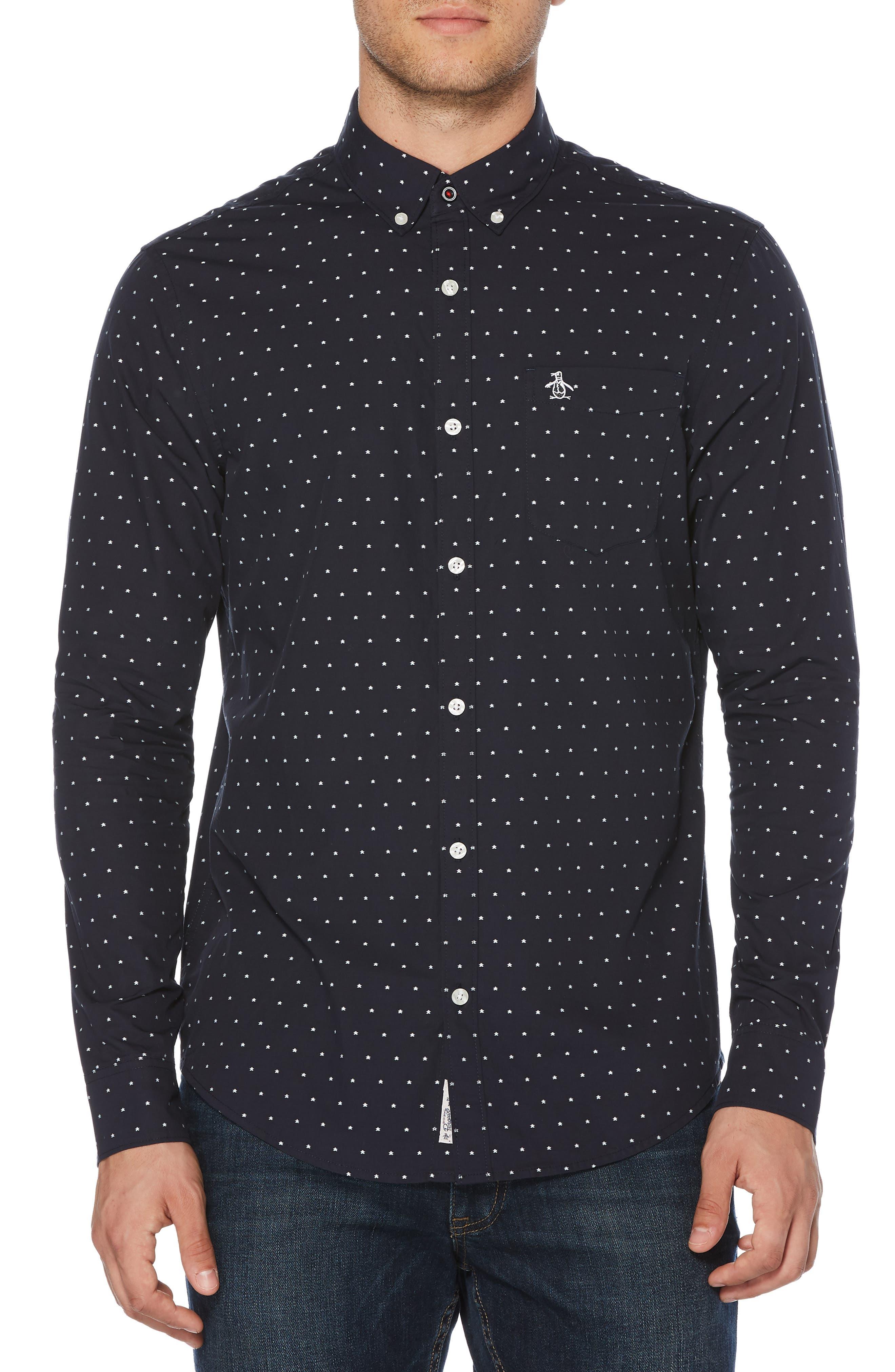 ORIGINAL PENGUIN, Star Dobby Sport Shirt, Main thumbnail 1, color, DARK SAPPHIRE