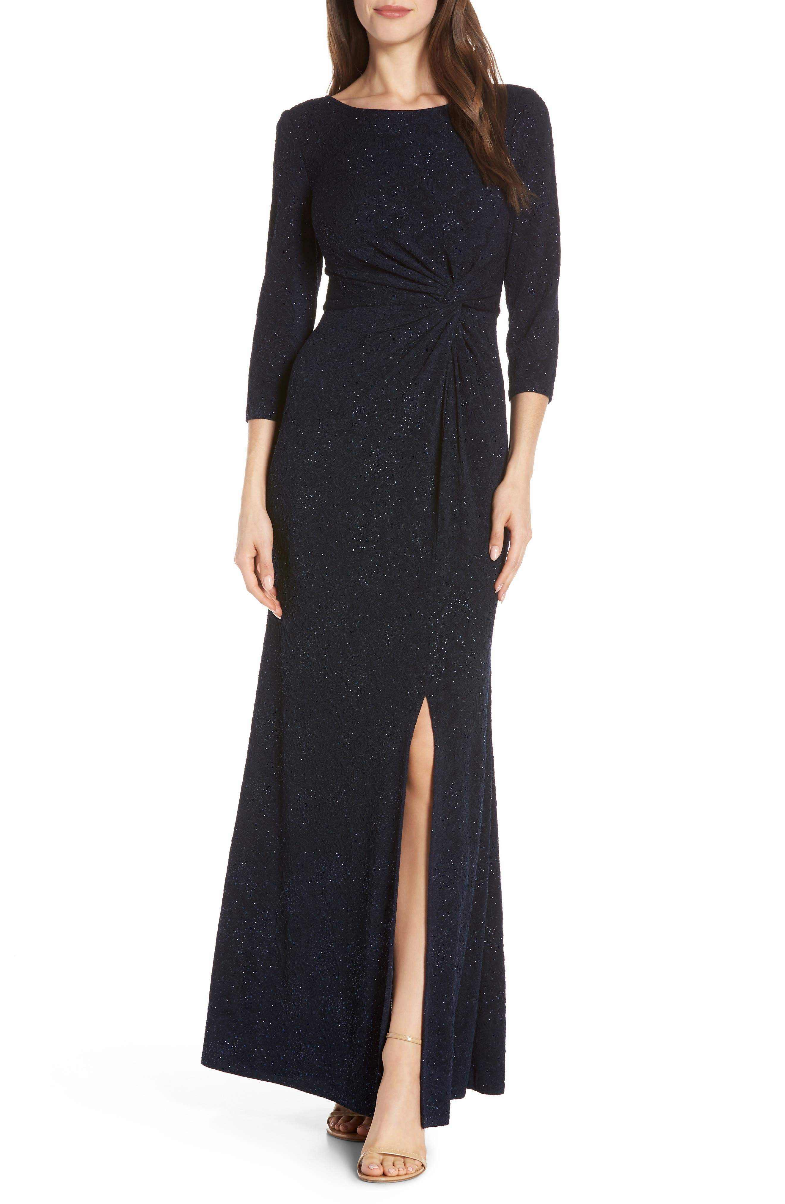 ALEX EVENINGS, Knot Front Sequin Jacquard Evening Dress, Main thumbnail 1, color, NAVY