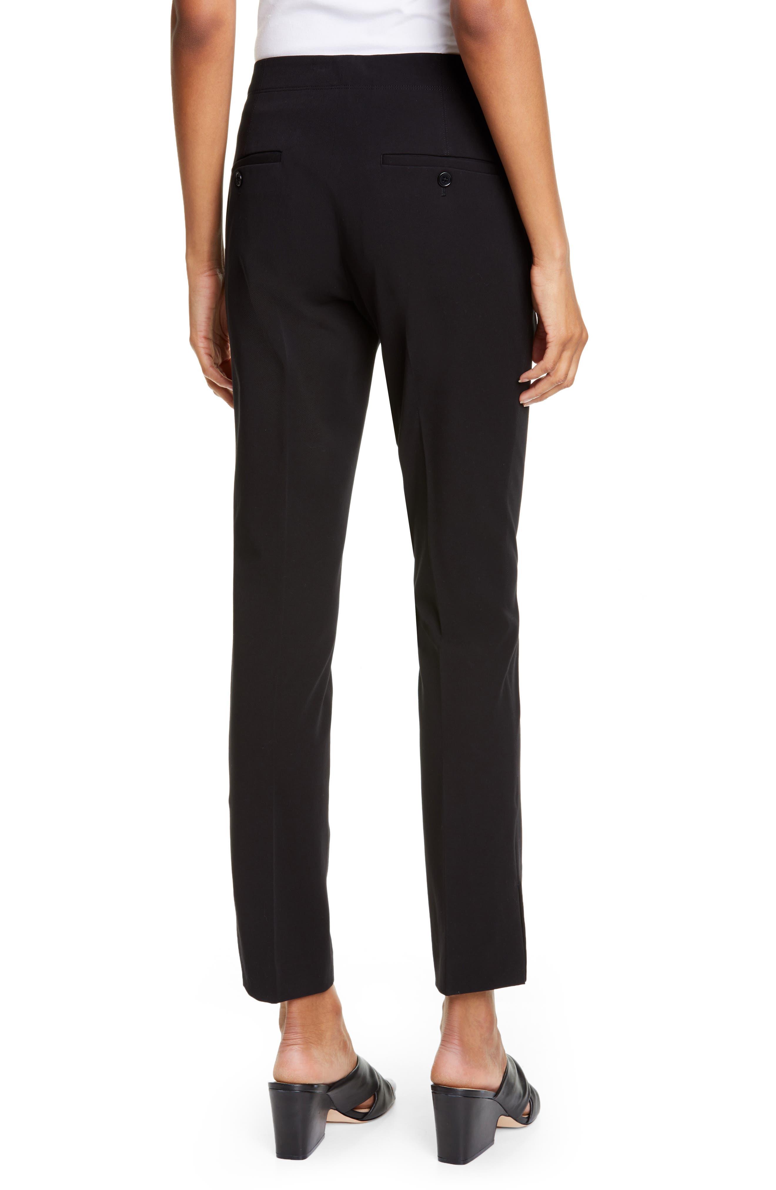 HELMUT LANG, Stretch Cotton Slim Trousers, Alternate thumbnail 2, color, BLACK