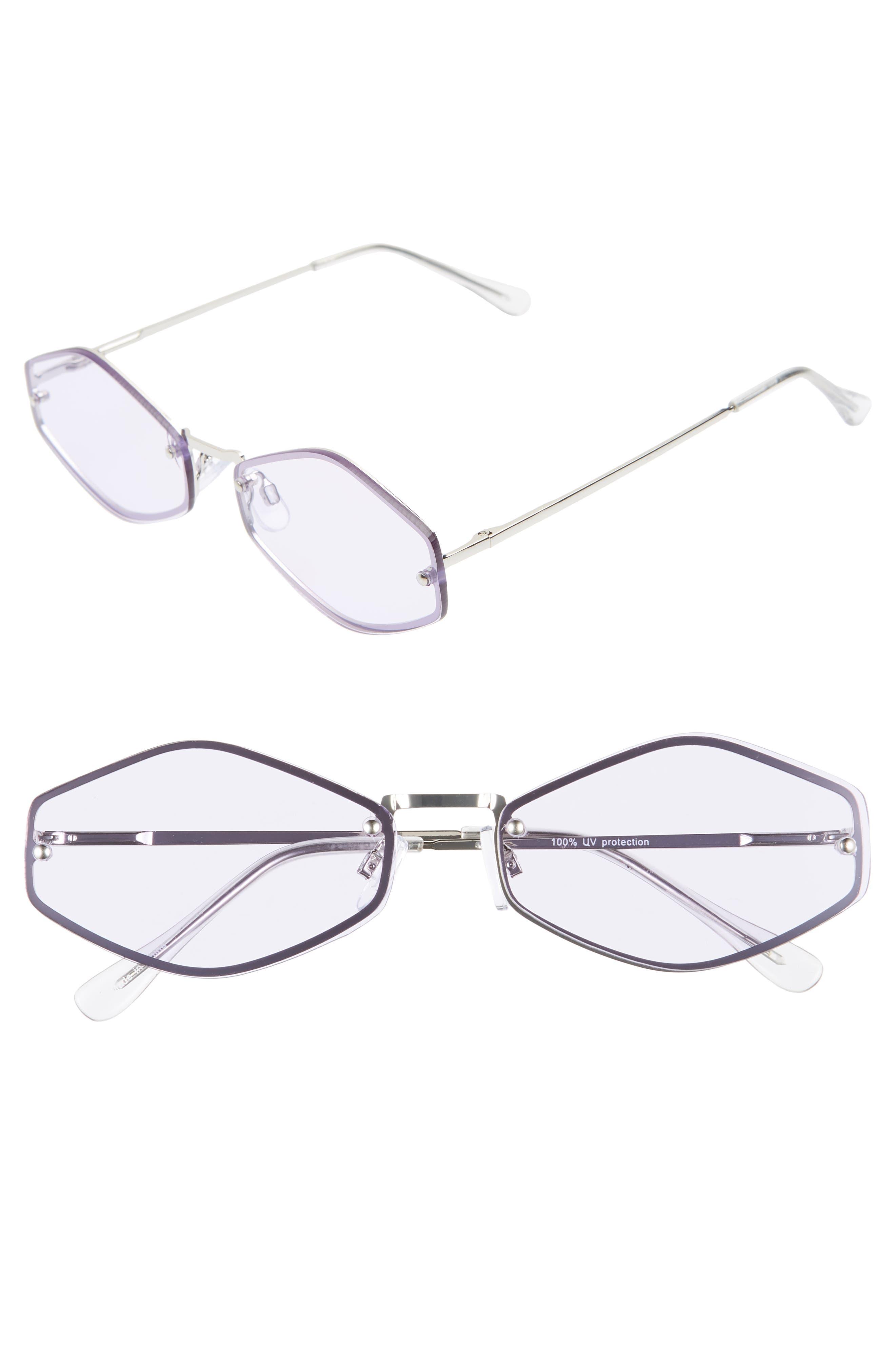 LEITH 62mm Rimless Geometric Sunglasses, Main, color, SILVER/ PURPLE