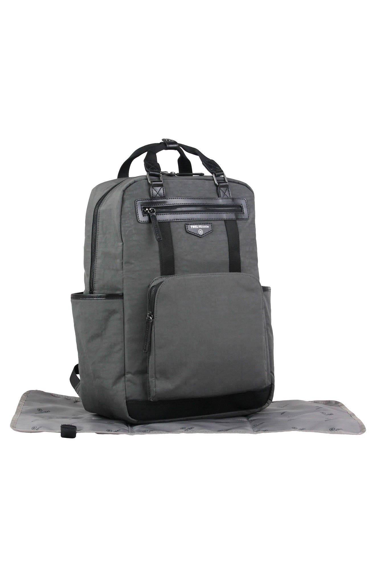 TWELVELITTLE, 'Courage' Unisex Backpack Diaper Bag, Alternate thumbnail 4, color, DARK GREY