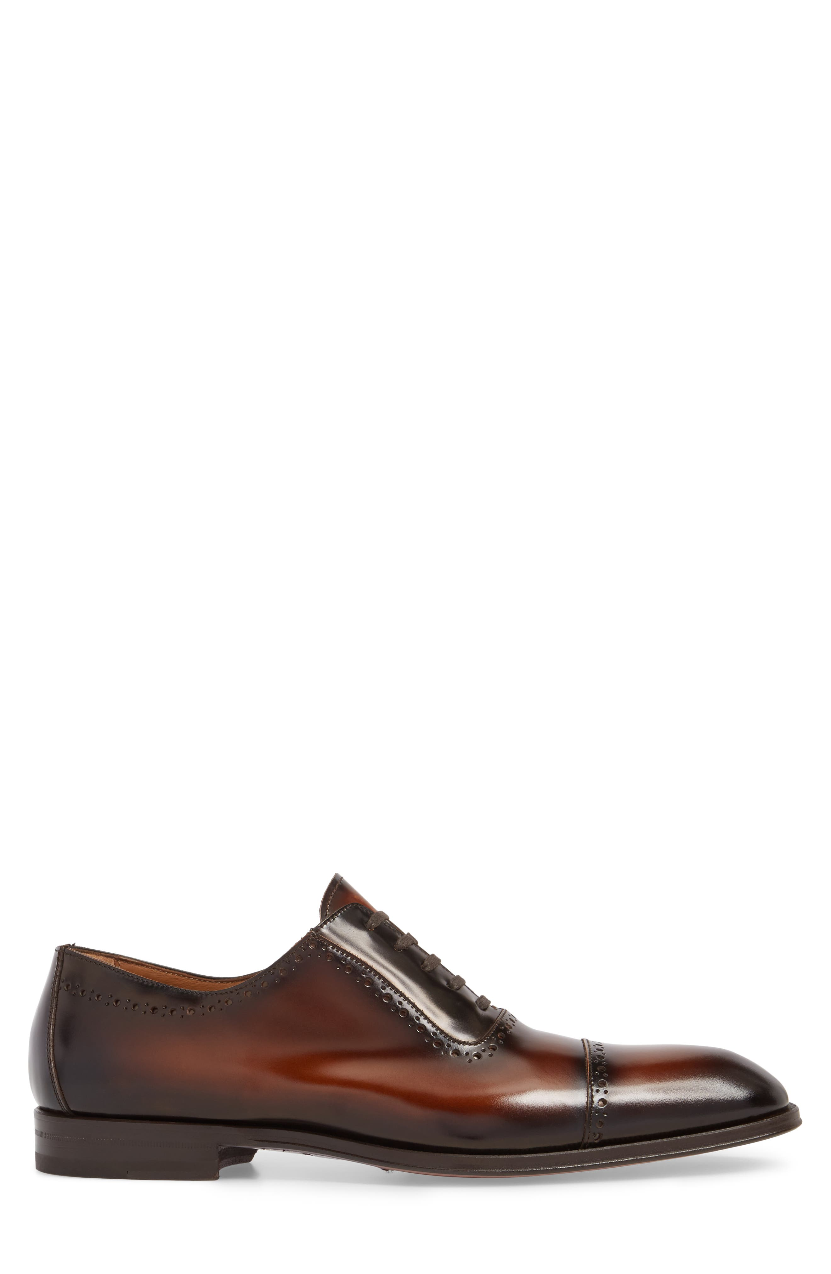 BRUNO MAGLI, Lucca Cap Toe Oxford, Alternate thumbnail 3, color, COGNAC
