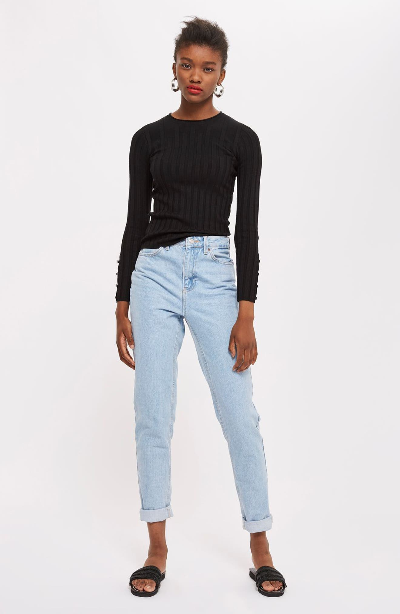 TOPSHOP, Ribbed Sweater, Alternate thumbnail 4, color, BLACK