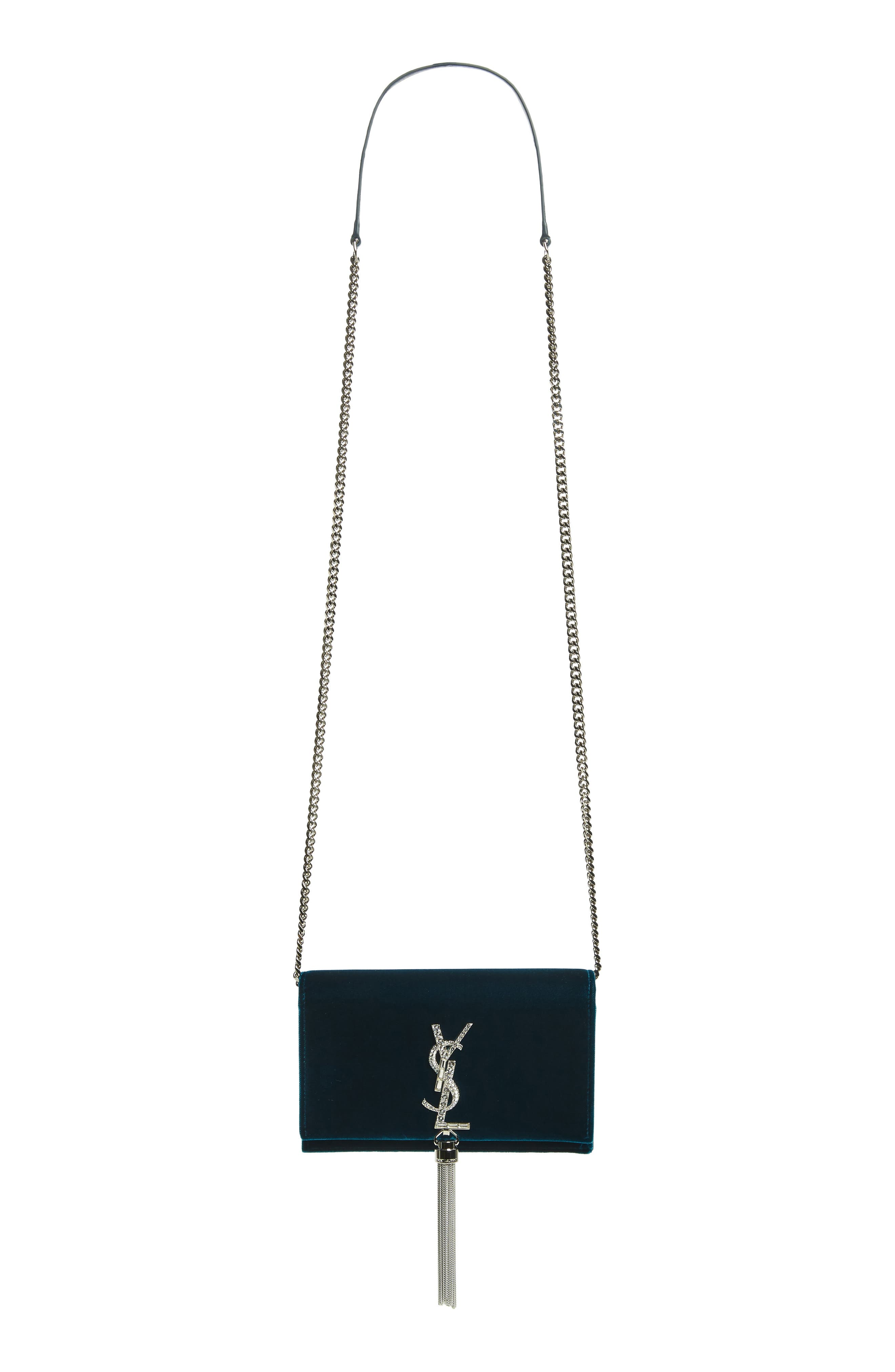 SAINT LAURENT, Small Kate Crystal Logo Wallet on a Chain, Main thumbnail 1, color, DARK DEEP SEA/ CRISTAL