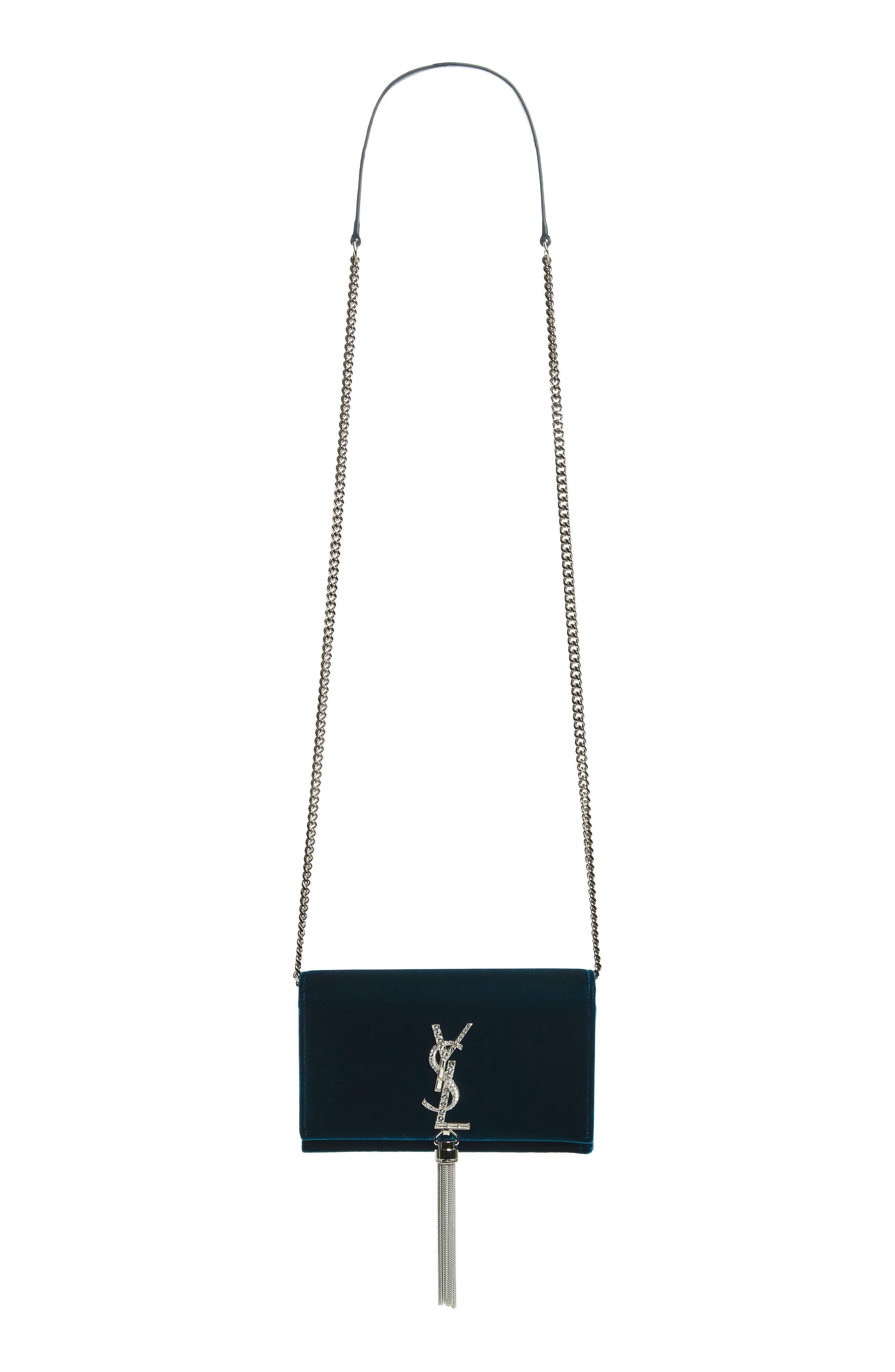 SAINT LAURENT Small Kate Crystal Logo Wallet on a Chain, Main, color, DARK DEEP SEA/ CRISTAL