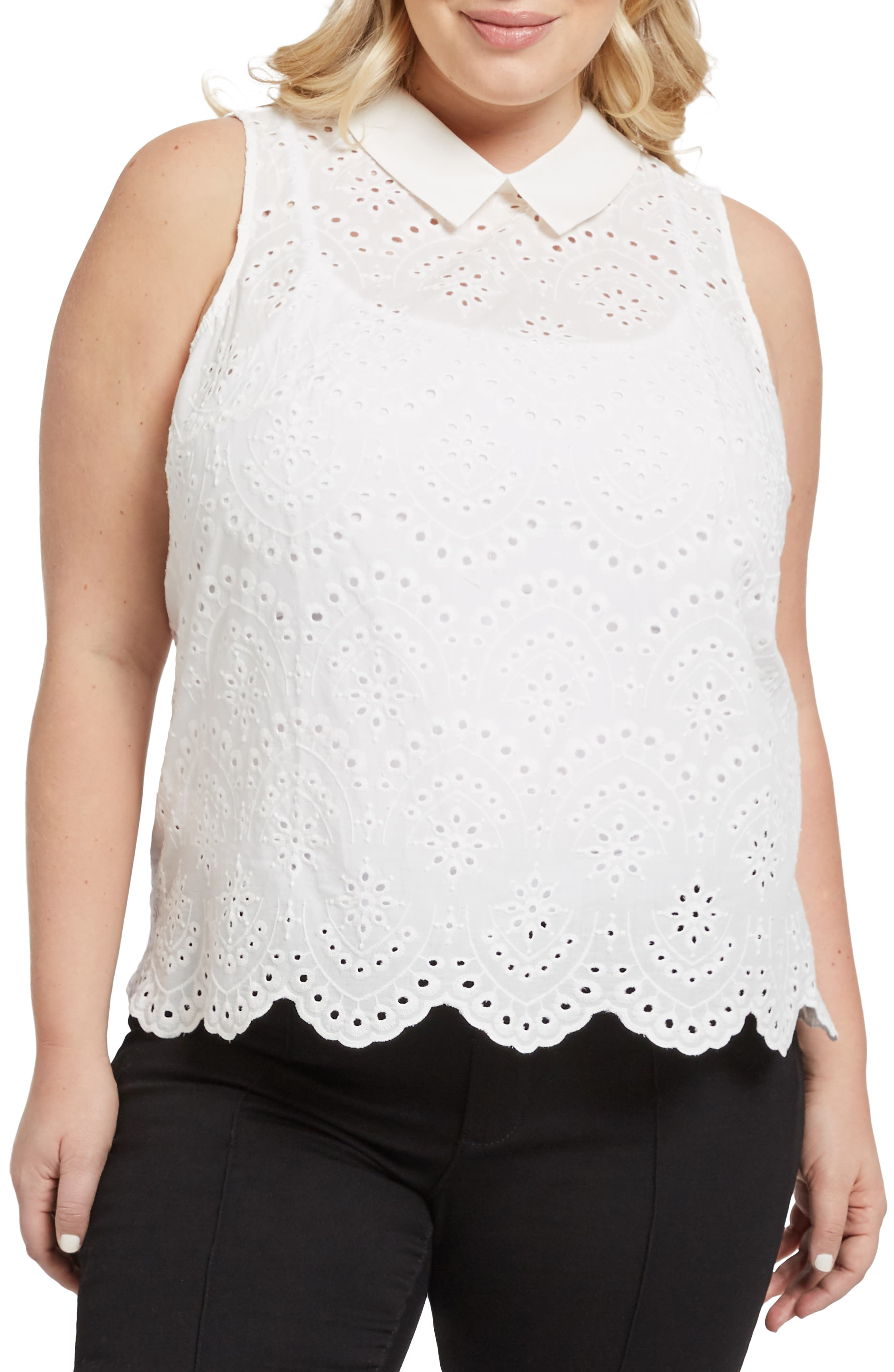 MODCLOTH, Eyelet in the Sun Top, Alternate thumbnail 2, color, WHITE