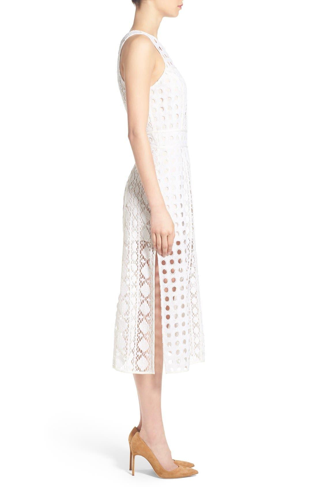 OLIVIA PALERMO + CHELSEA28, Patchwork Lace Midi Dress, Alternate thumbnail 6, color, 100