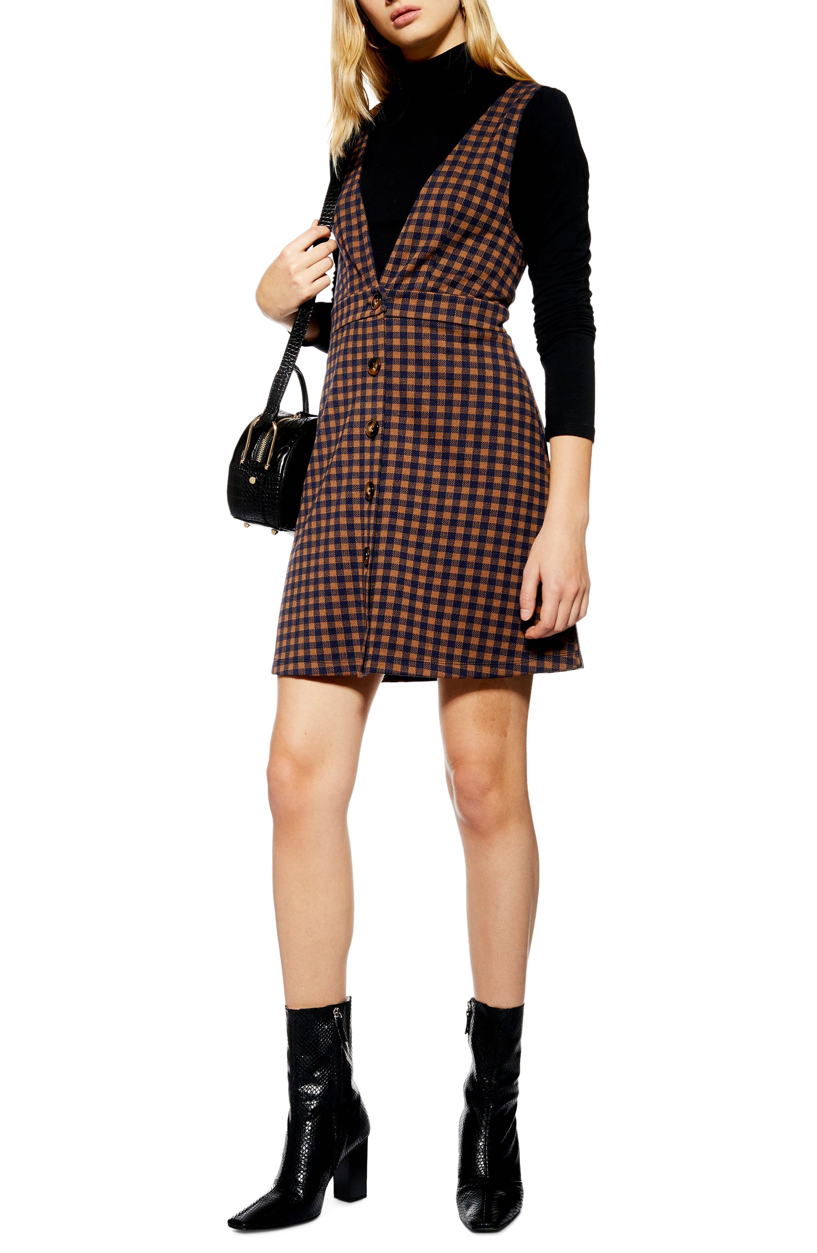 TOPSHOP Check Button Front Pinafore Dress, Main, color, NAVY BLUE MULTI