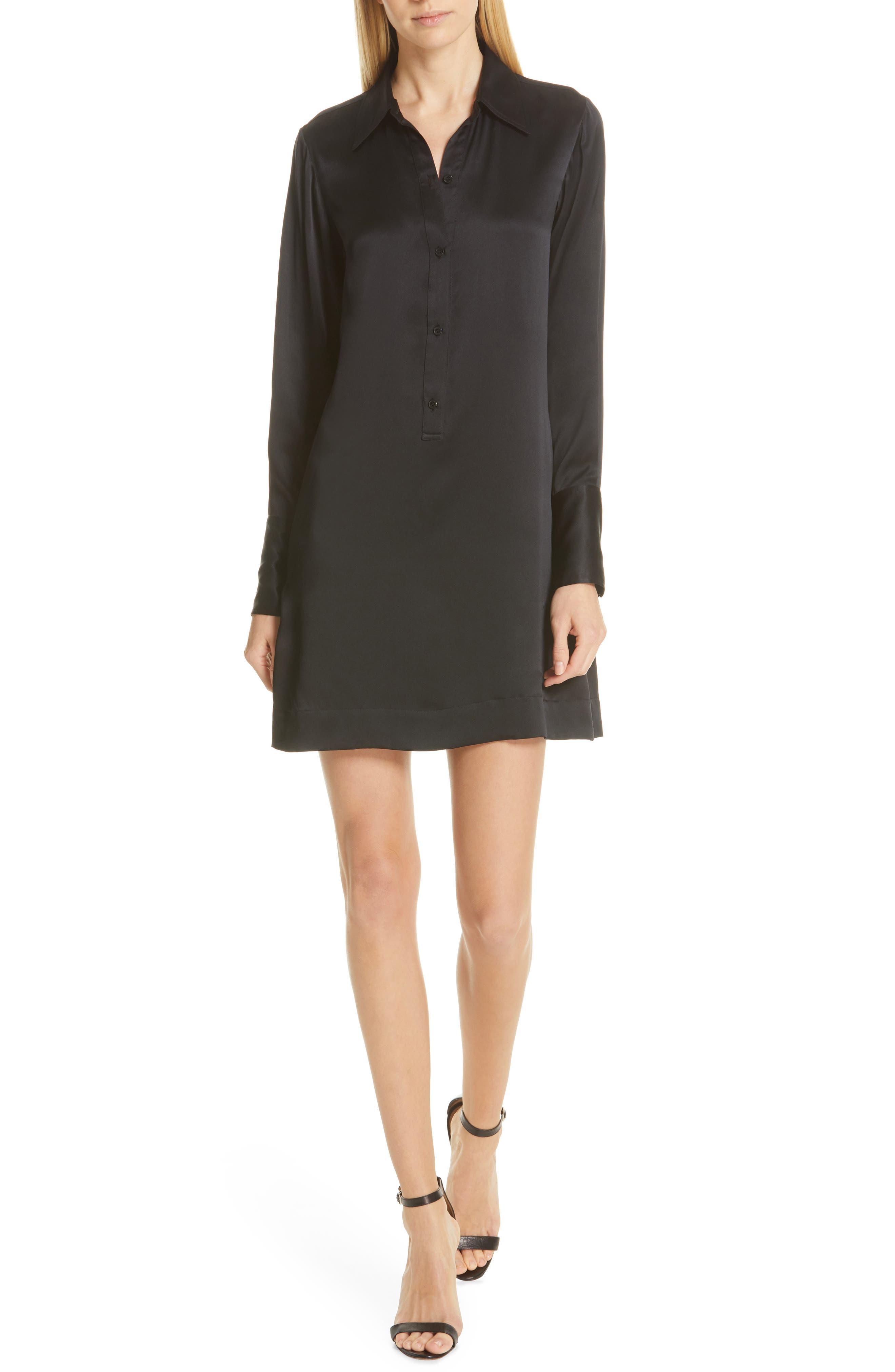 NILI LOTAN Cassidy Silk Shirtdress, Main, color, BLACK
