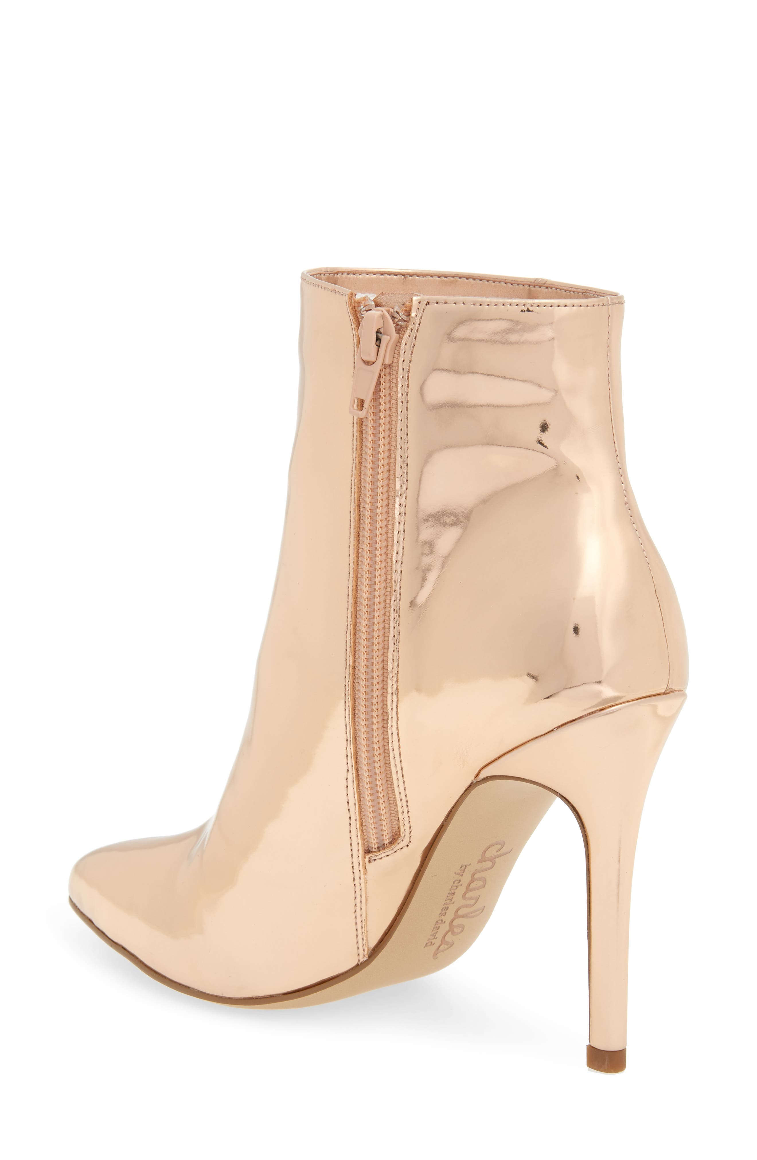 CHARLES BY CHARLES DAVID, Delicious Bootie, Alternate thumbnail 2, color, ROSE GOLD LEATHER