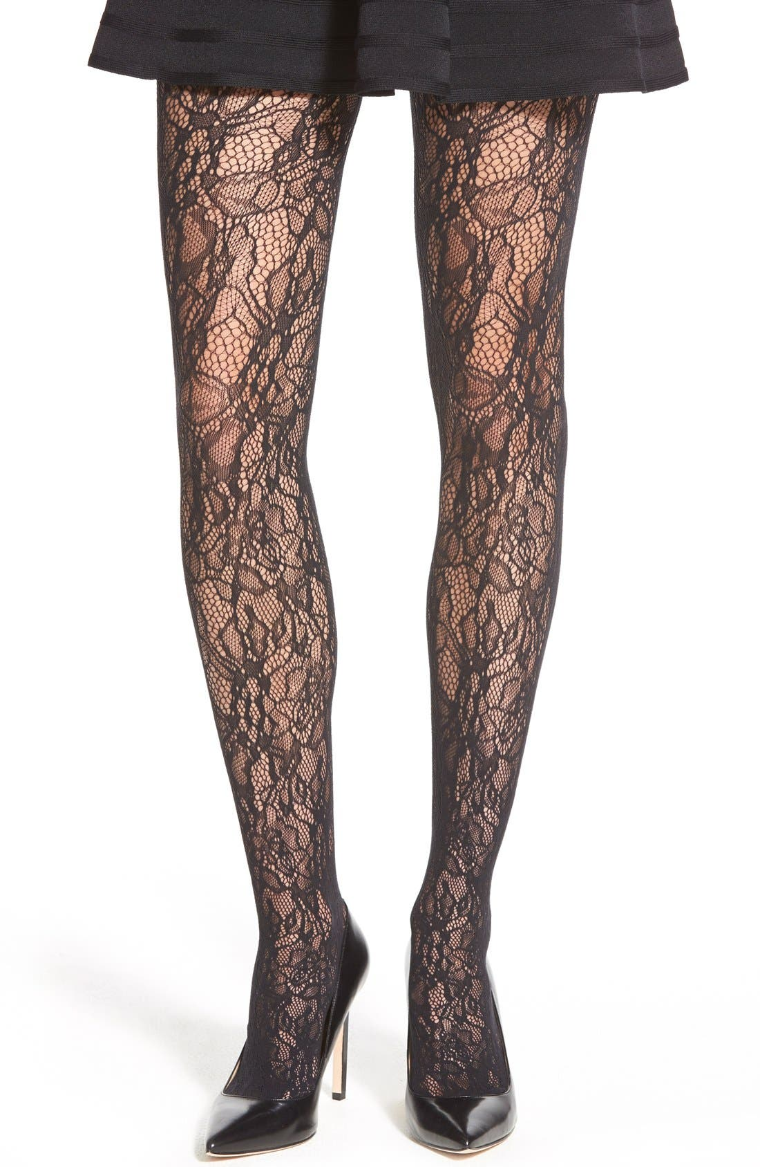 WOLFORD 'Clair' Lace Tights, Main, color, 002
