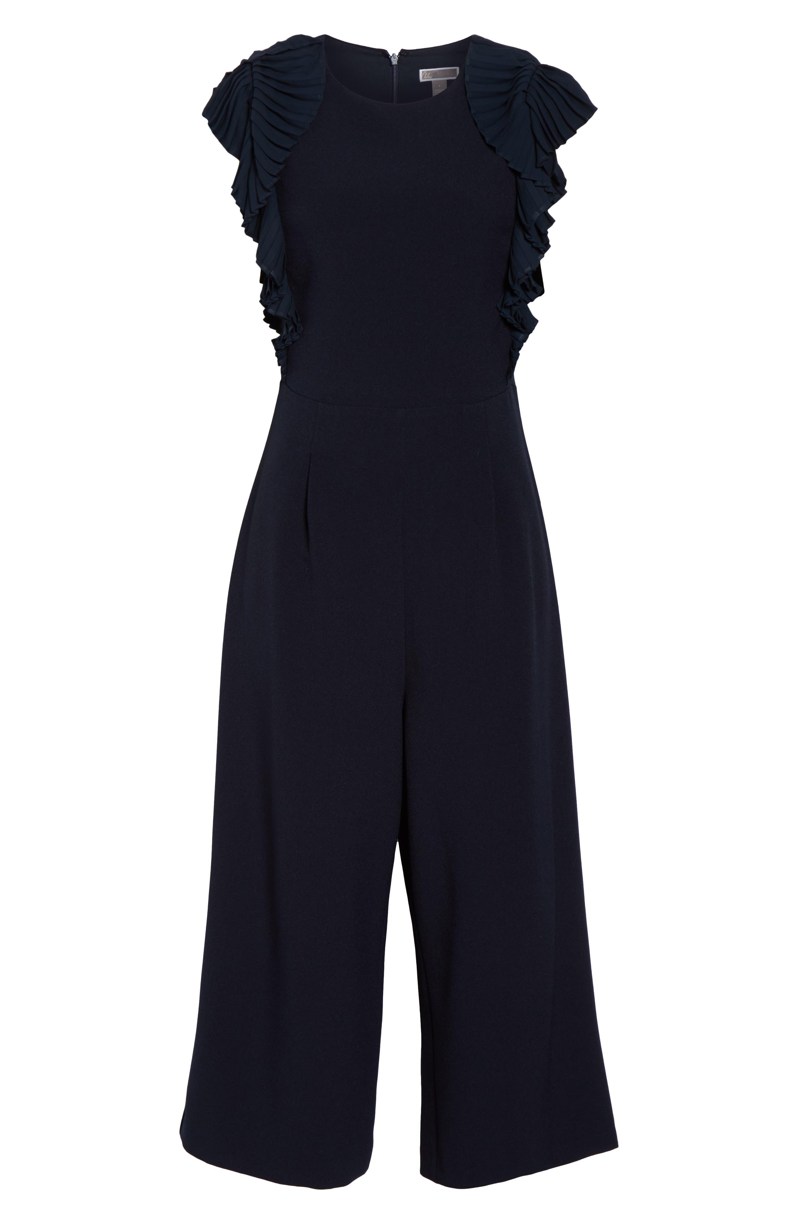 CHELSEA28, Pleated Shoulder Crop Jumpsuit, Alternate thumbnail 7, color, NAVY SAPPHIRE