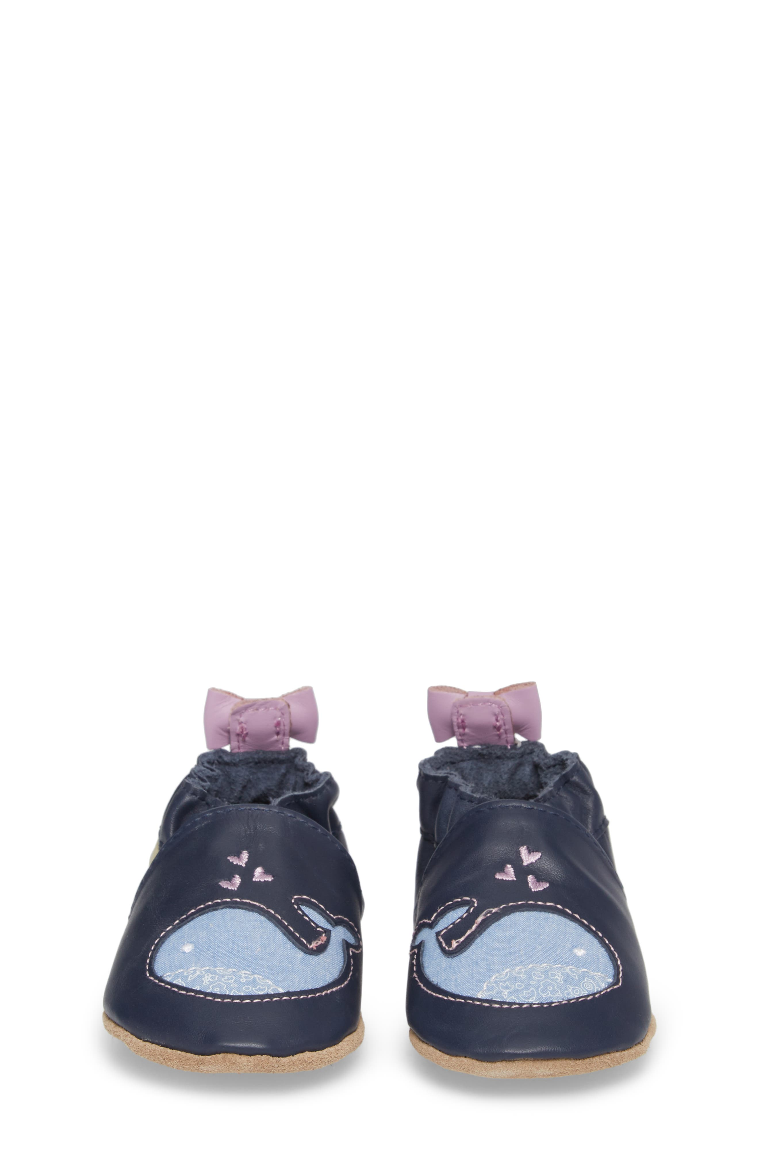 ROBEEZ<SUP>®</SUP>, Poppy Whale Crib Shoe, Alternate thumbnail 4, color, NAVY