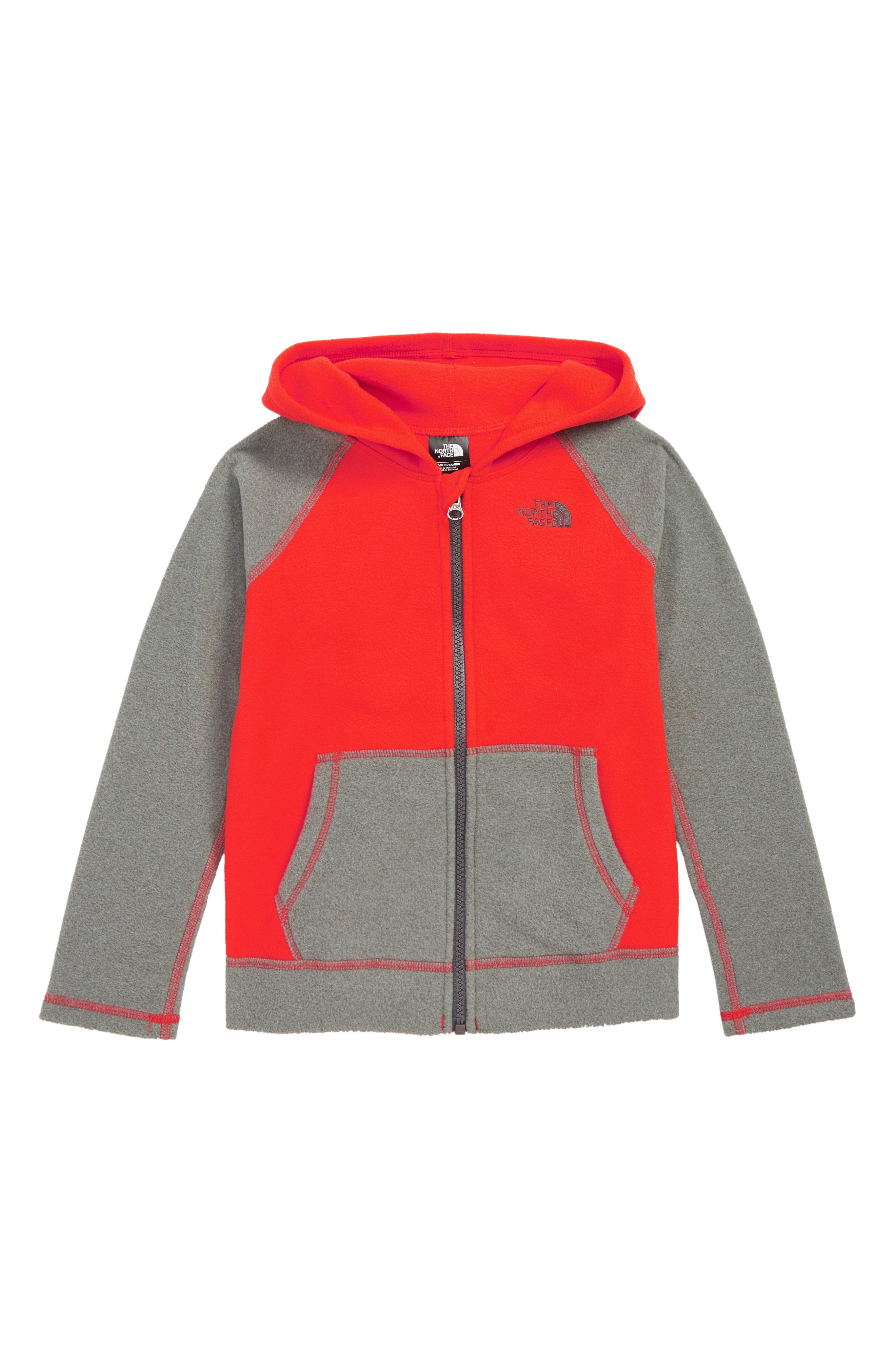 THE NORTH FACE, Glacier Zip Hoodie, Main thumbnail 1, color, FIERY RED