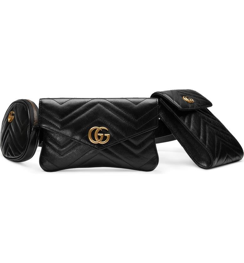 12680888bb0 Gucci GG Marmont 2.0 Matelassé Triple Pouch Leather Belt Bag
