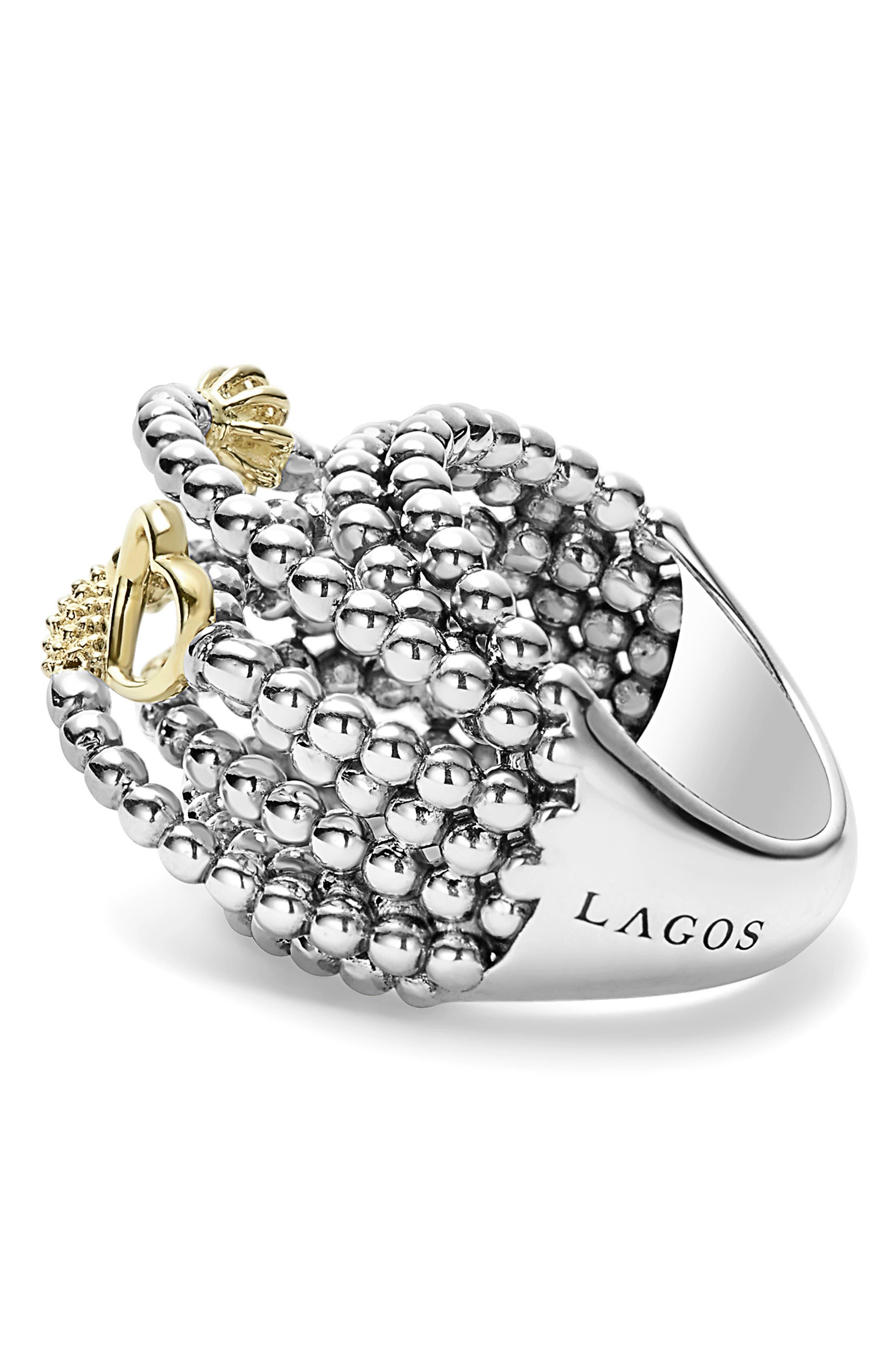 LAGOS, 'Caviar Icon' Multi-Row Dome Ring, Alternate thumbnail 3, color, SILVER/ GOLD