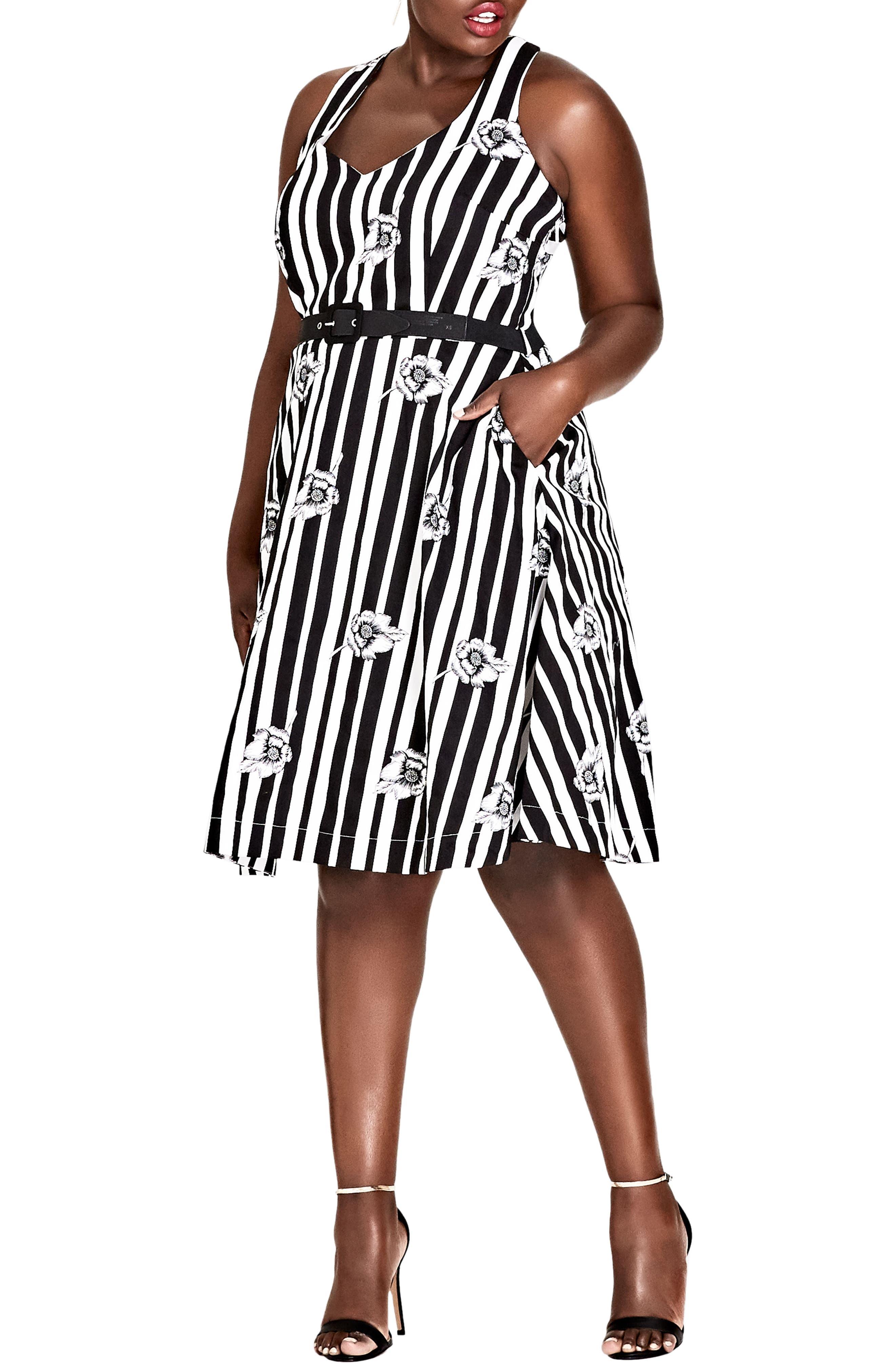 Plus Size City Chic Floral Fit & Flare Dress, Black