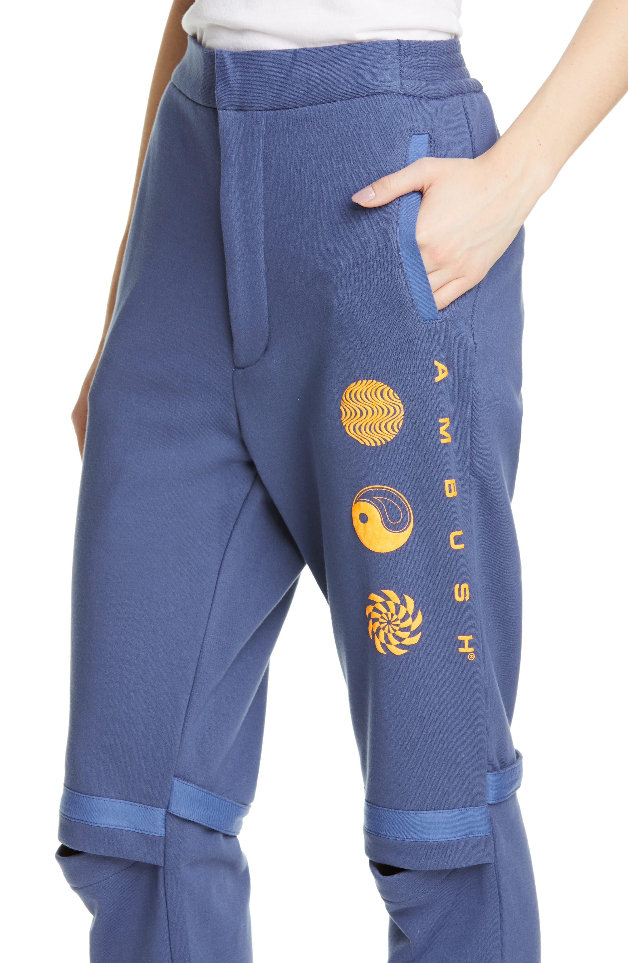 AMBUSH, Slit Knee Sweatpants, Alternate thumbnail 4, color, BLUE