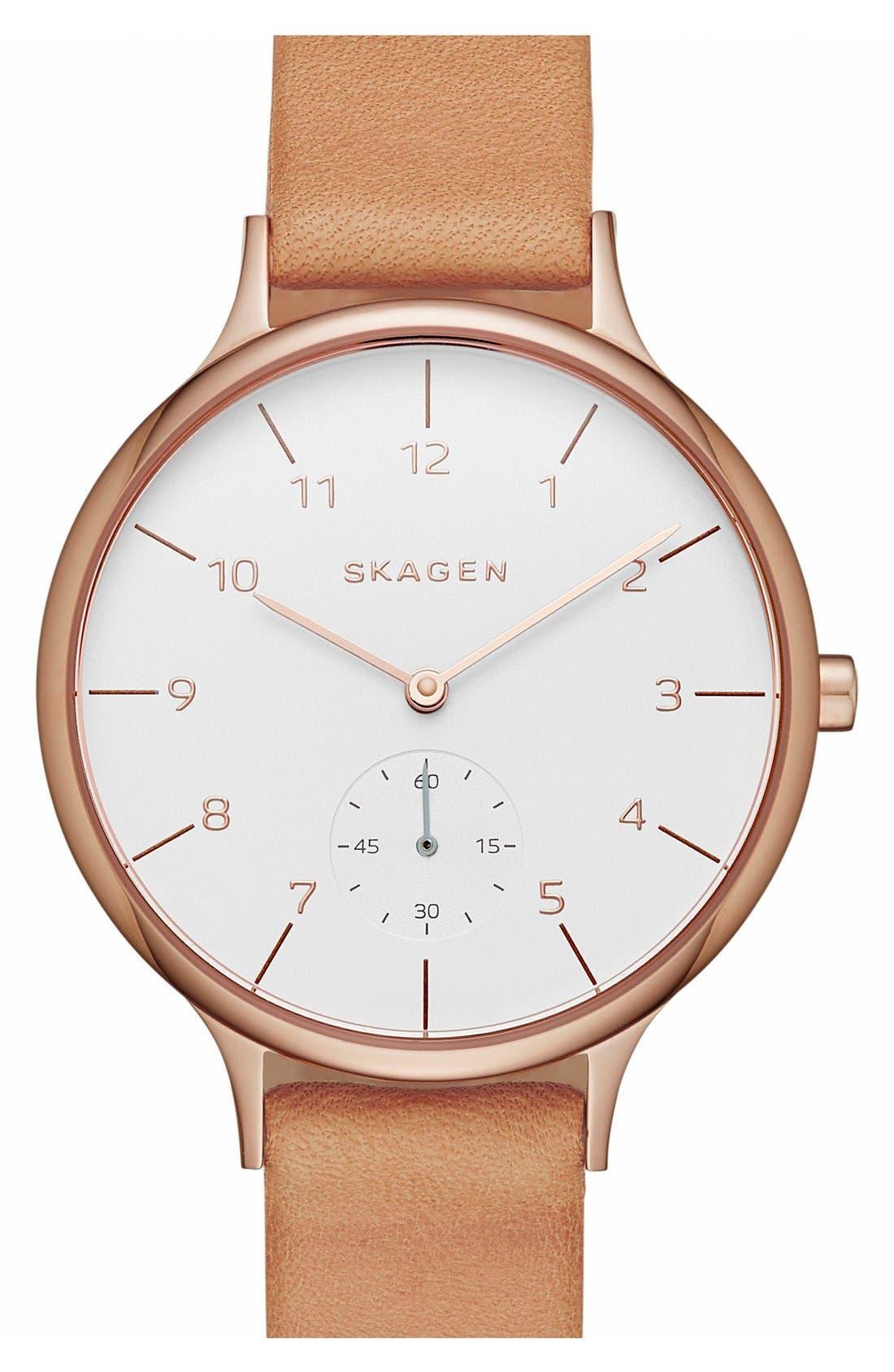 SKAGEN, 'Anita' Leather Strap Watch, 34mm, Alternate thumbnail 2, color, BROWN/ ROSE GOLD/ WHITE