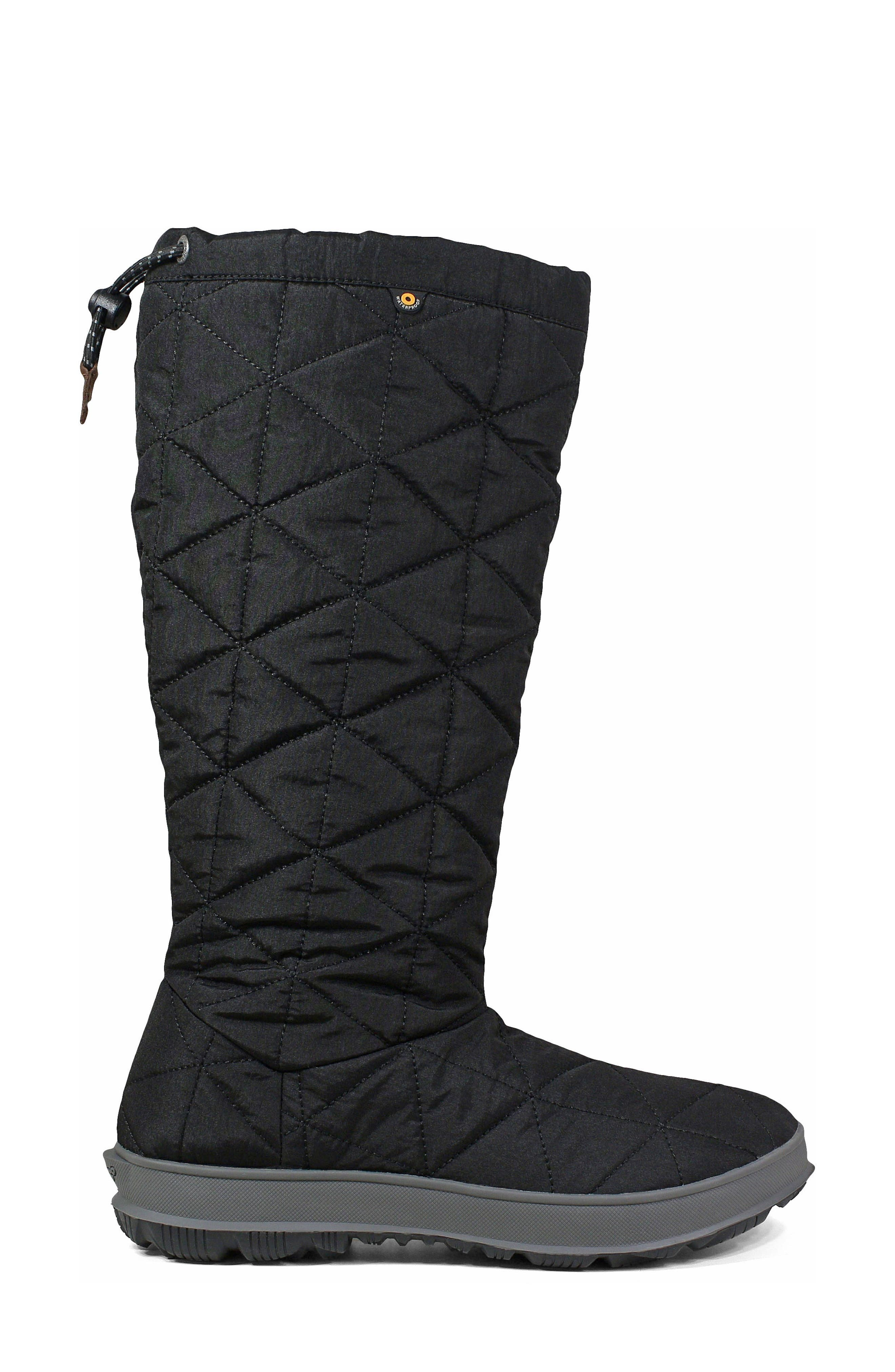 BOGS, Snowday Tall Waterproof Quilted Snow Boot, Alternate thumbnail 3, color, BLACK