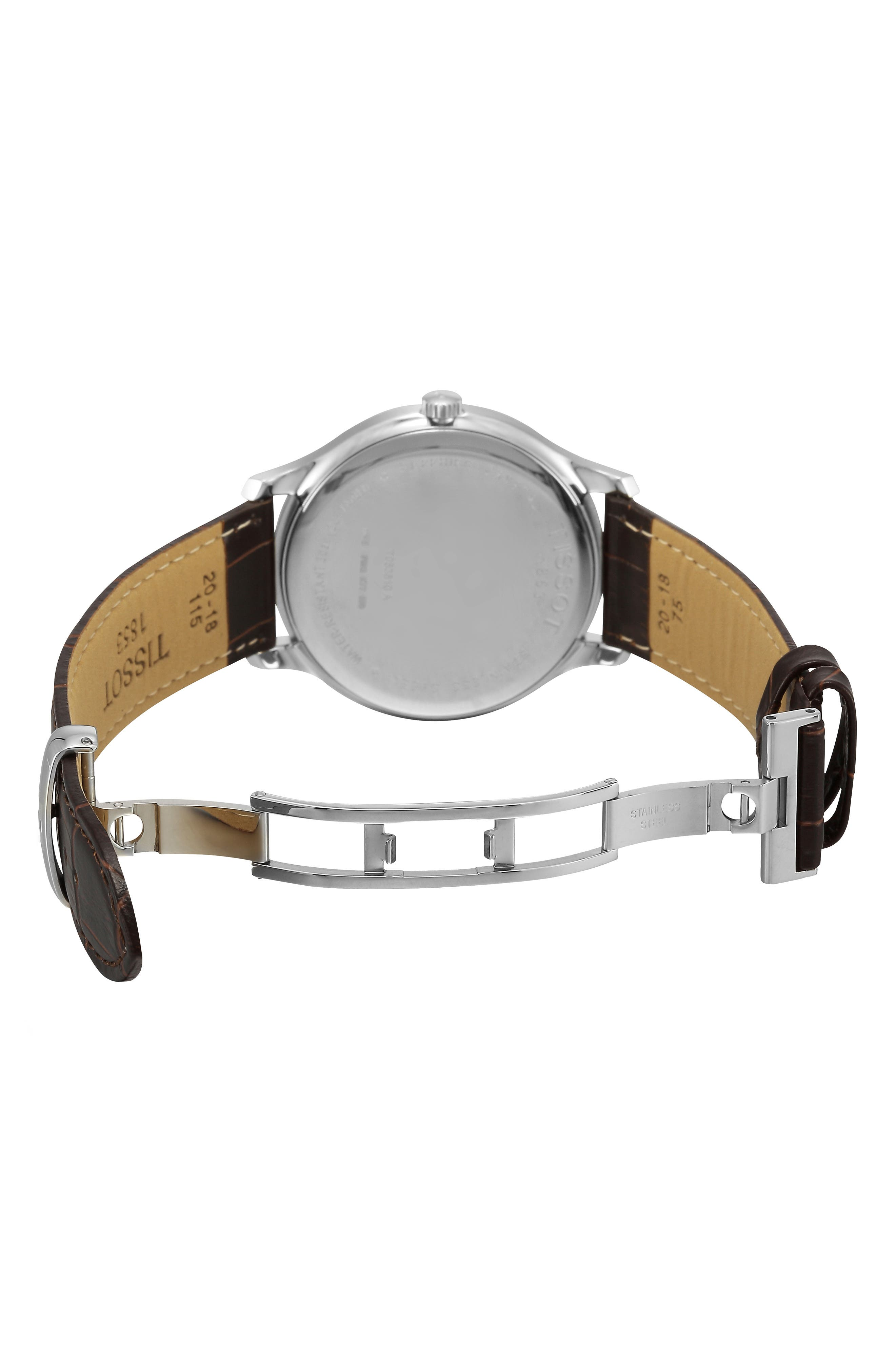 TISSOT, Tradition Leather Strap Watch, 42mm, Alternate thumbnail 6, color, BROWN/ SILVER