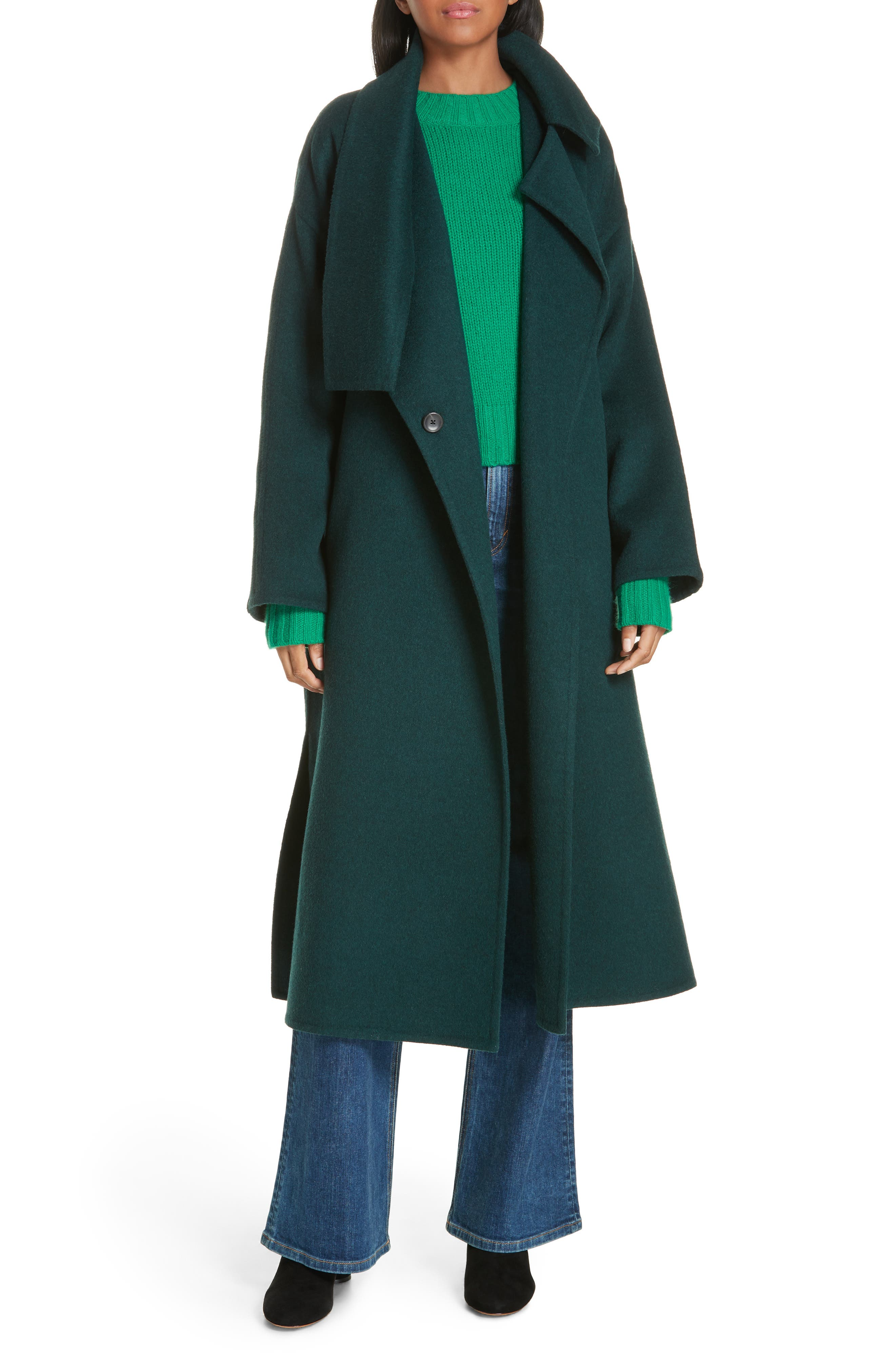 VINCE, Belted Wool Blend Cozy Coat, Alternate thumbnail 8, color, DARK PALM