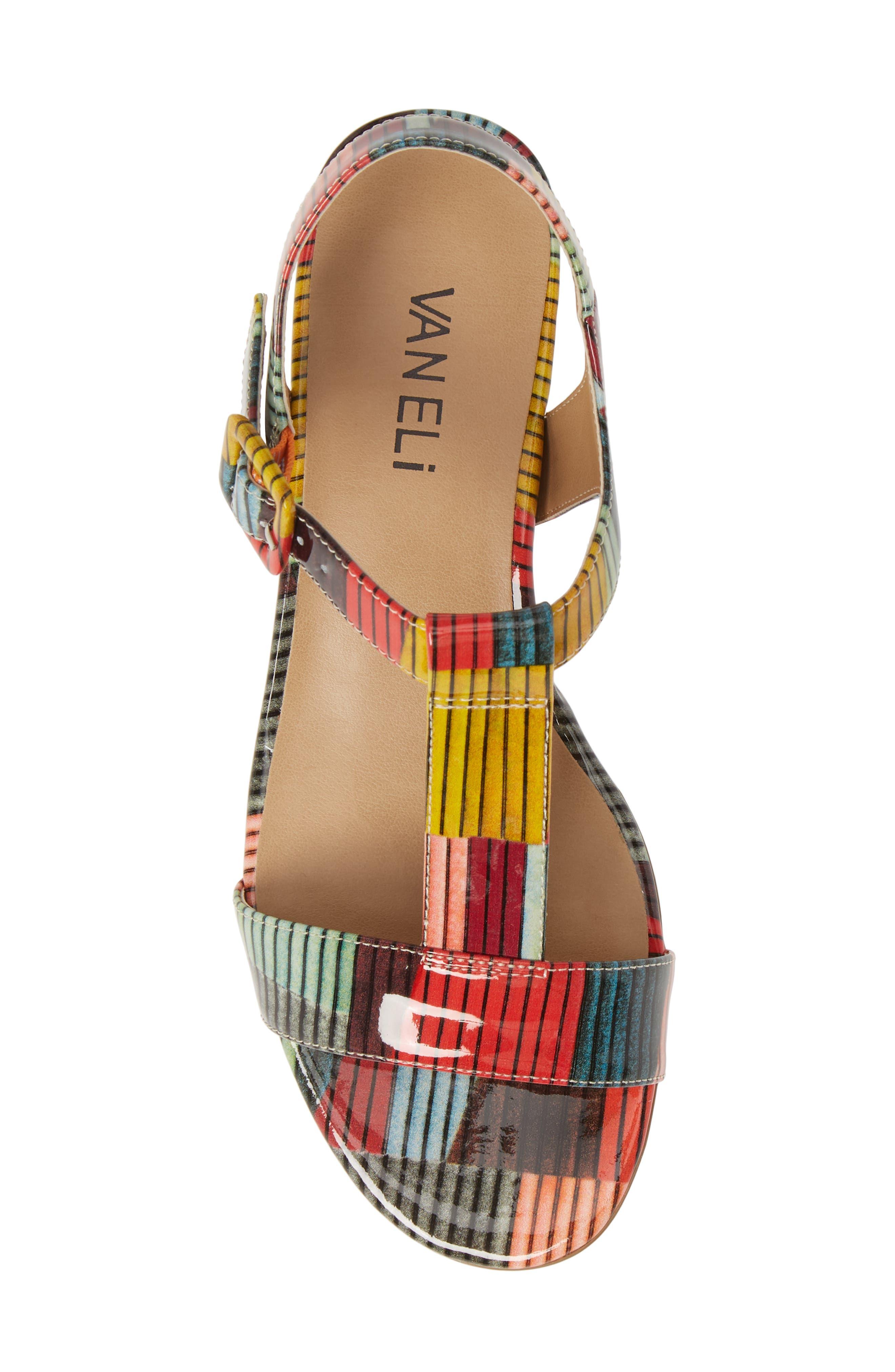 VANELI, Burlie T-Strap Sandal, Alternate thumbnail 5, color, MULTICOLOR PATENT LEATHER