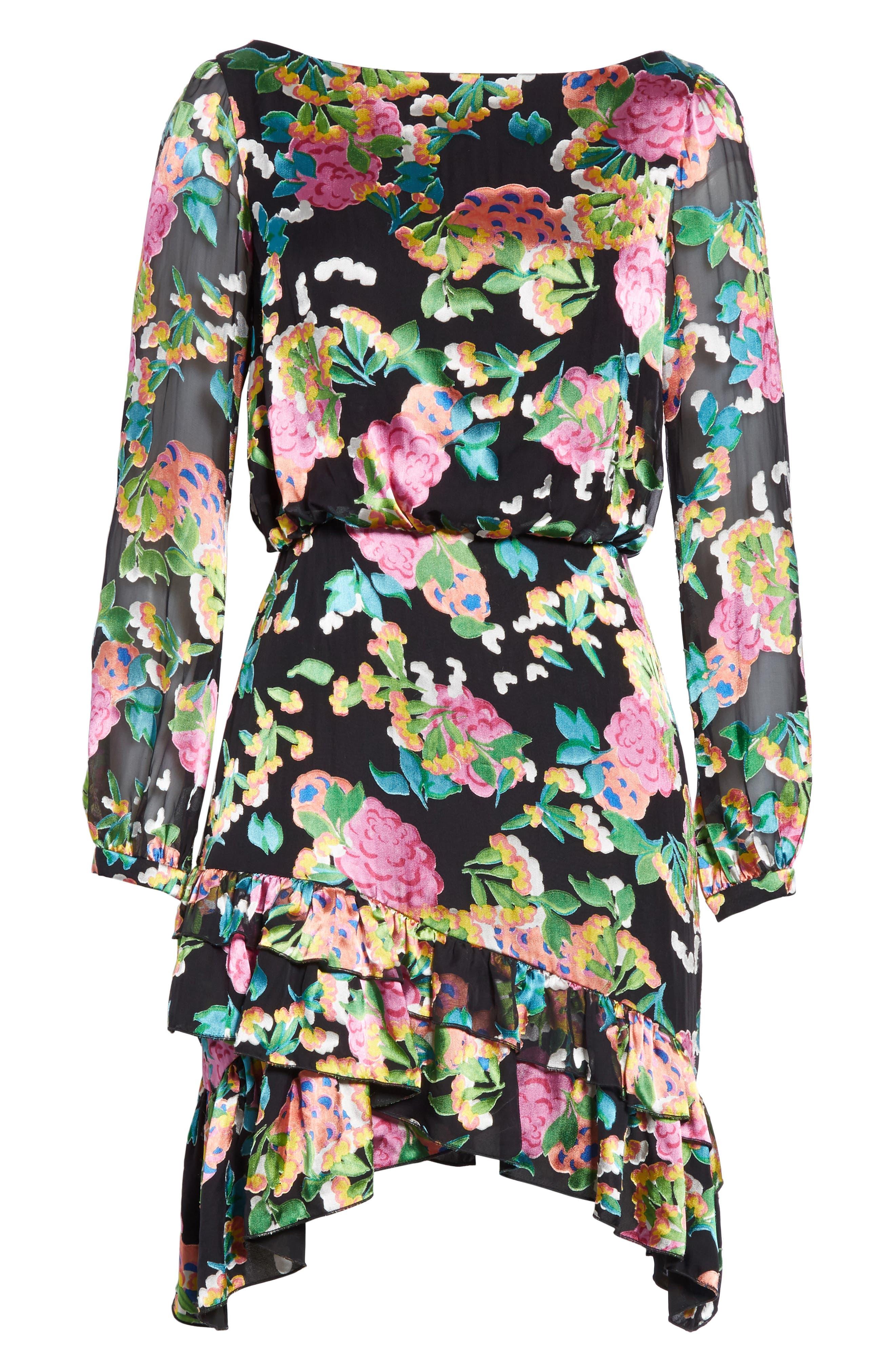 SALONI, Felicia Asymmetrical Silk Blend Dress, Alternate thumbnail 6, color, HYDRANGEA