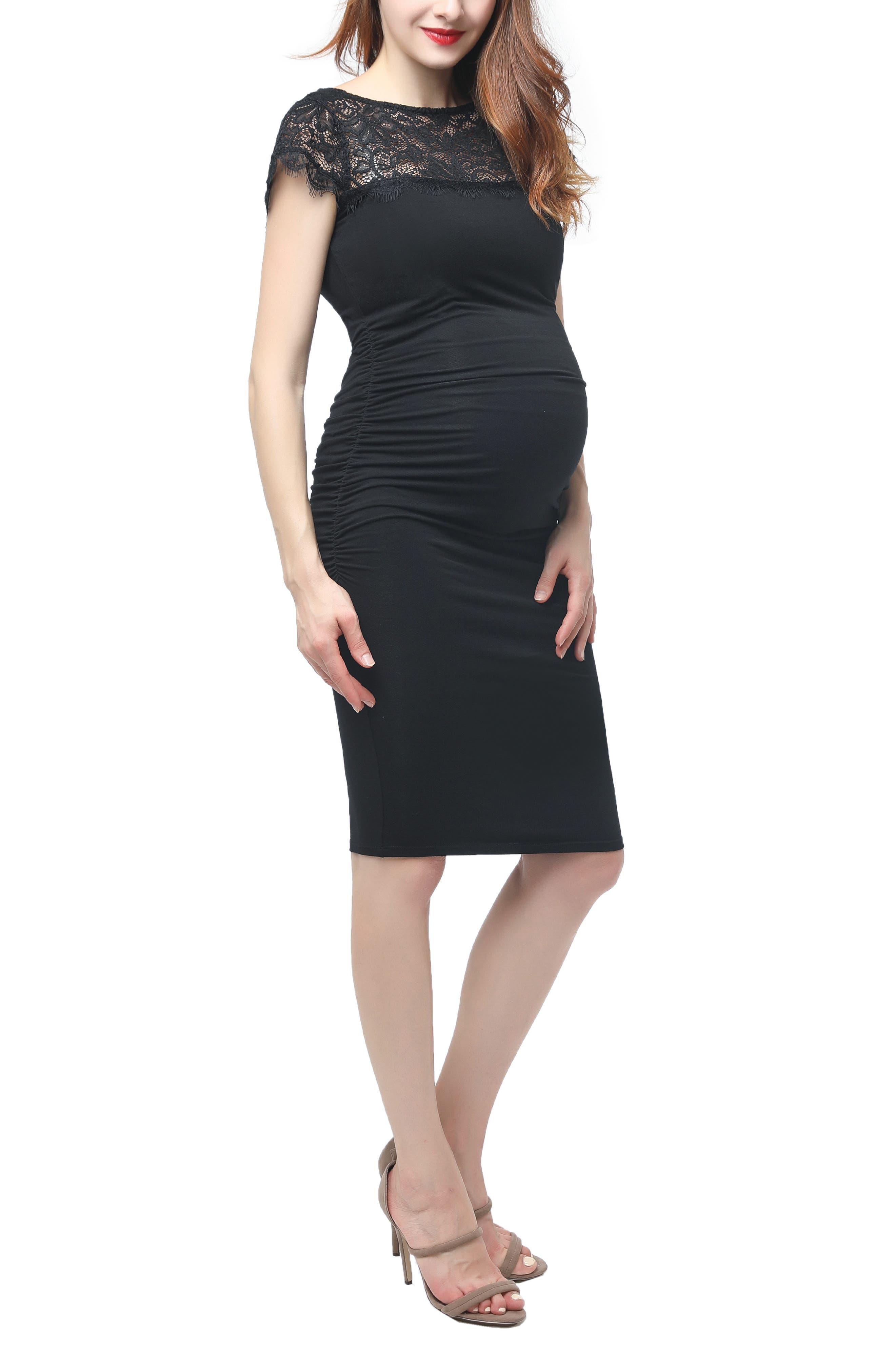Kimi And Kai Morgran Lace Trim Body-Con Maternity Dress