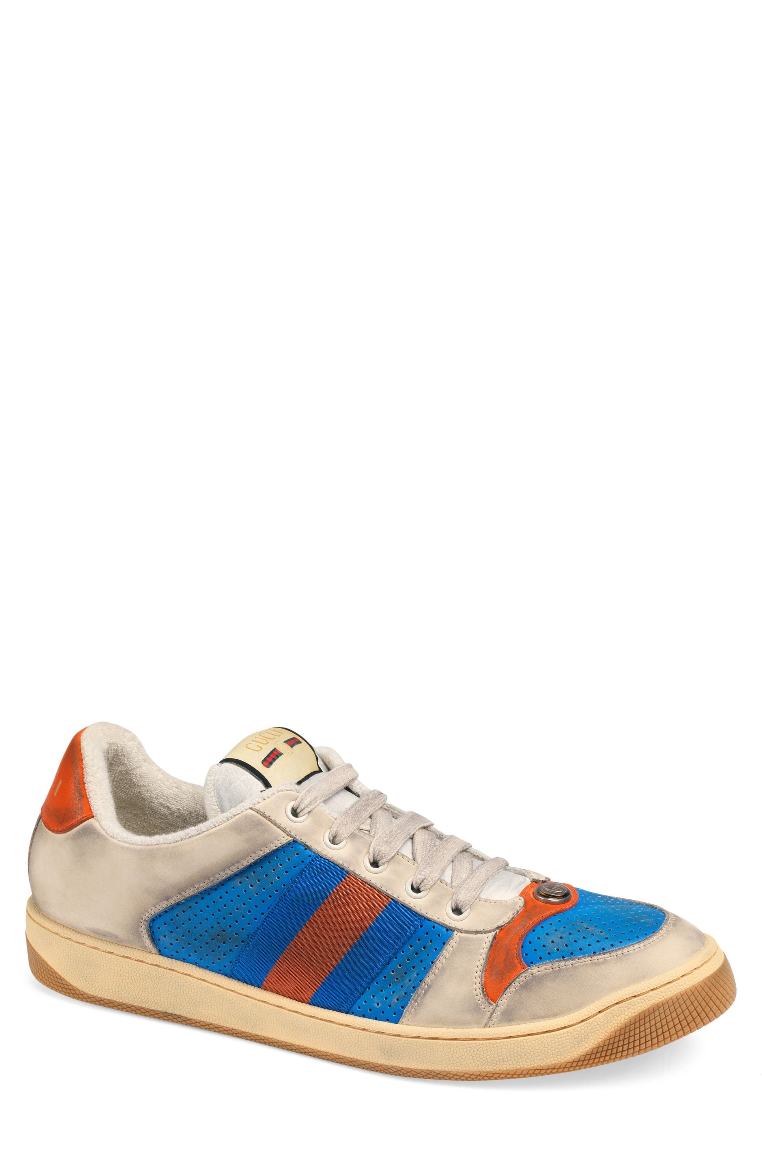 GUCCI, Screener Low Top Sneaker, Main thumbnail 1, color, BLUE/ CAMEL