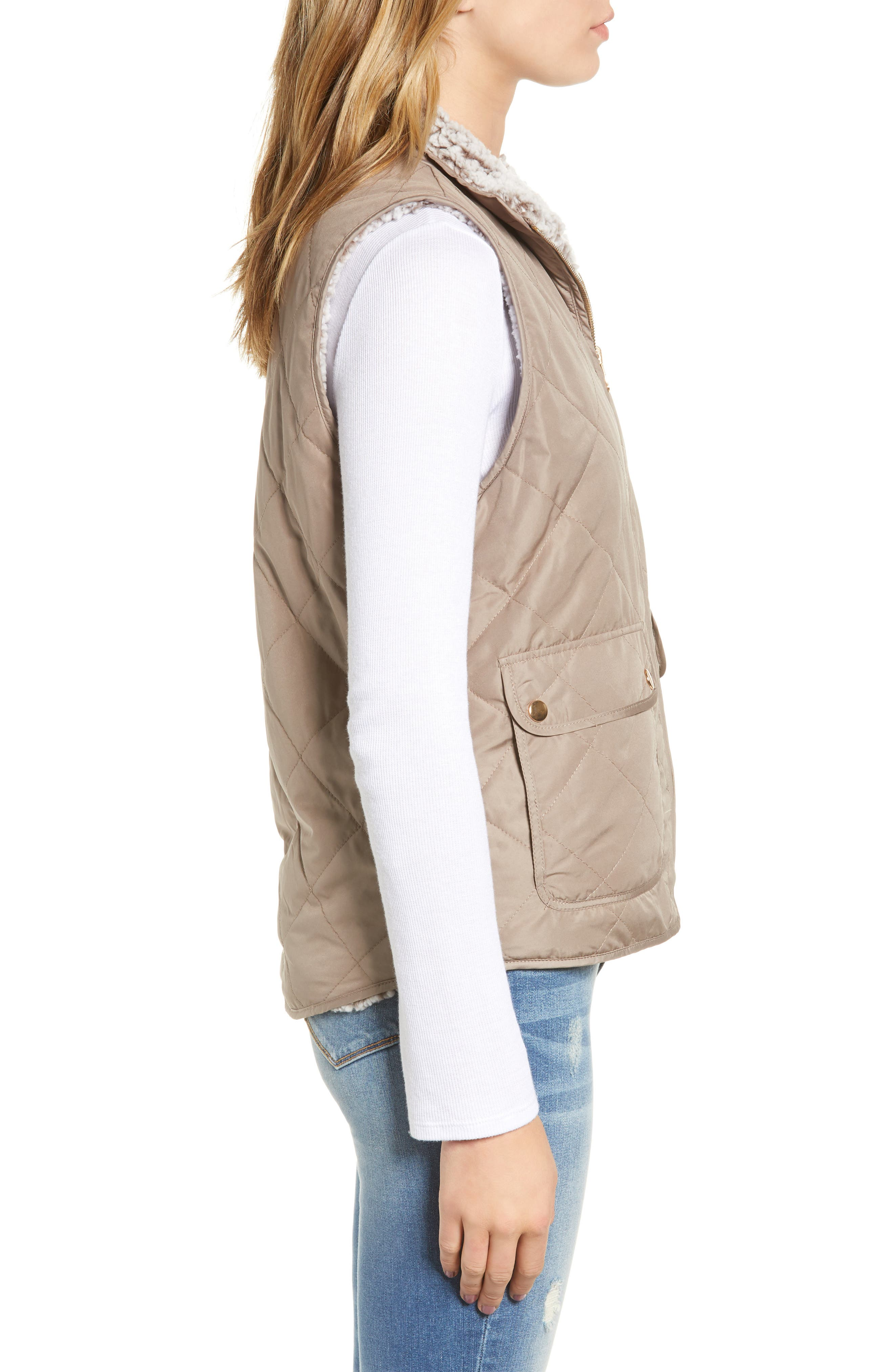 THREAD & SUPPLY, Reversible Fleece Lined Quilted Vest, Alternate thumbnail 5, color, MUSHROOM
