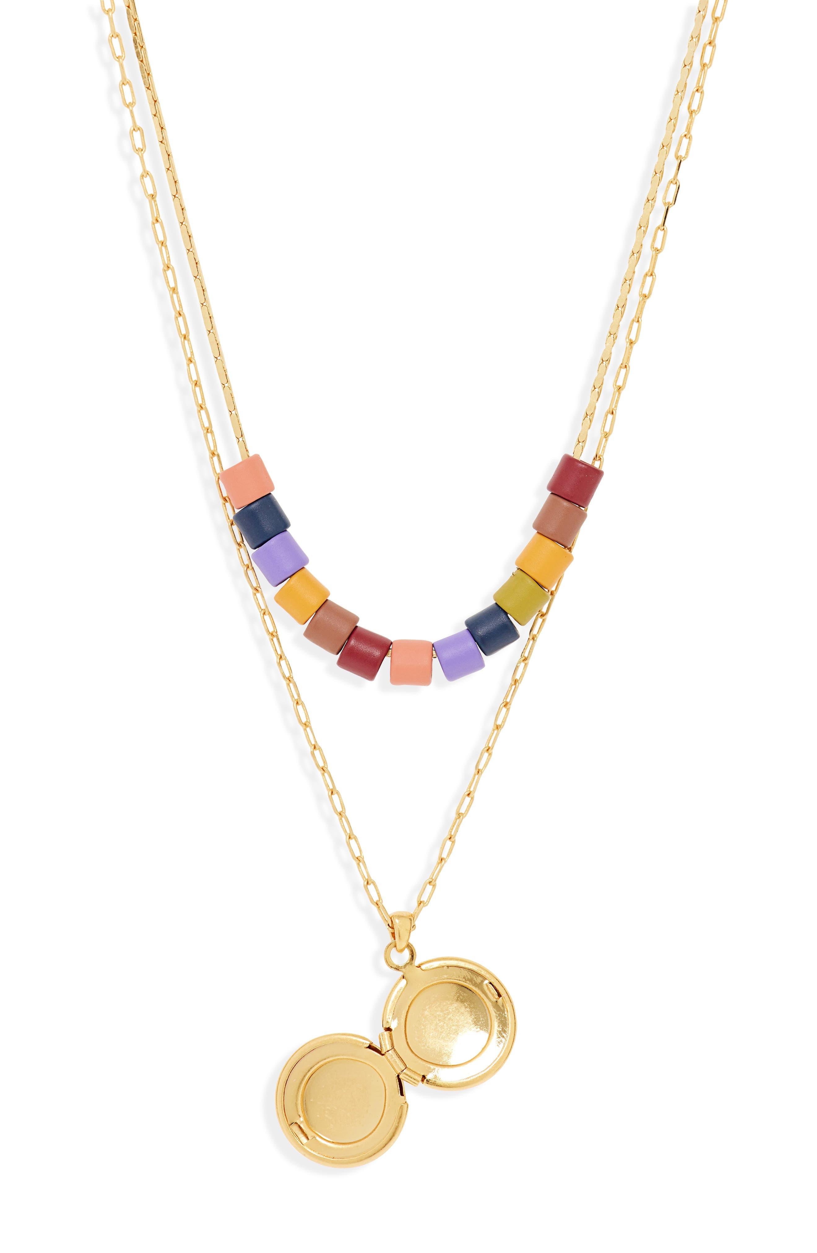 MADEWELL, Set of 2 Rainbow Beaded Locket Necklaces, Alternate thumbnail 3, color, RAINBOW MULTI