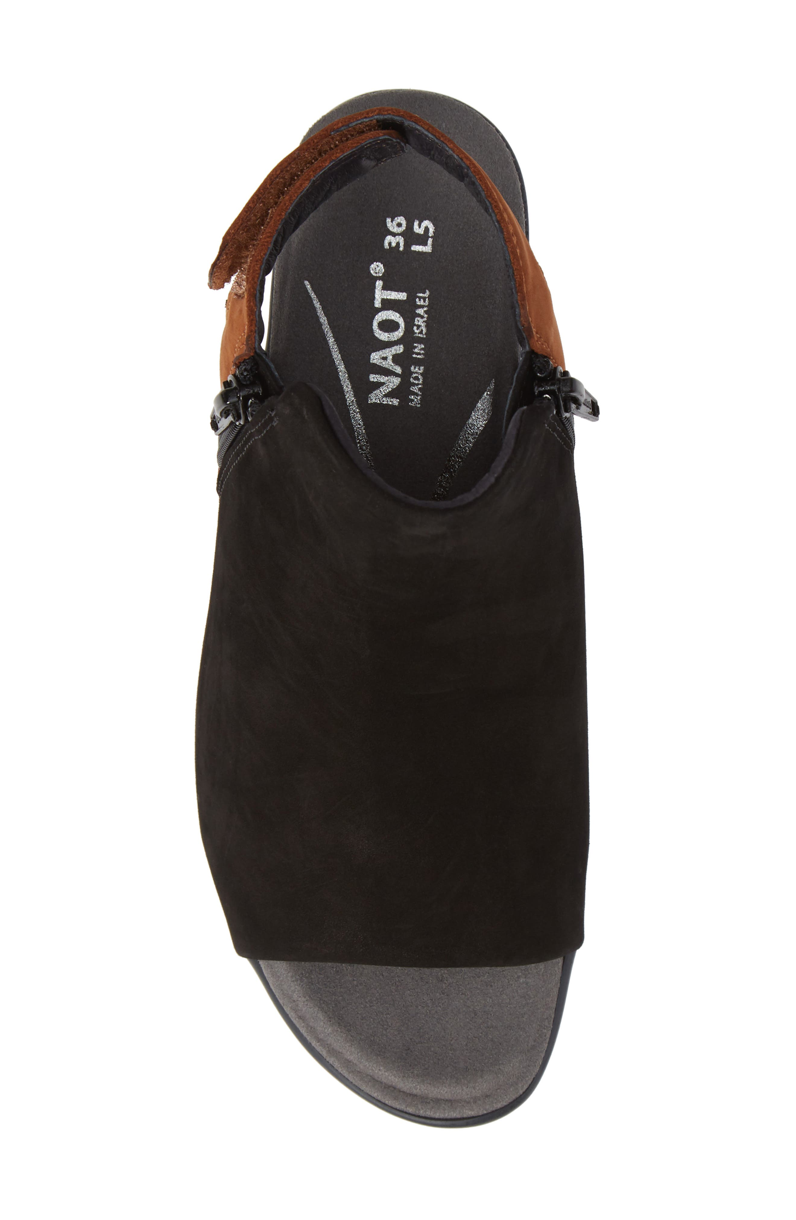 NAOT, Favorite Sandal, Alternate thumbnail 5, color, BLACK/ HAWAIIAN BROWN NUBUCK